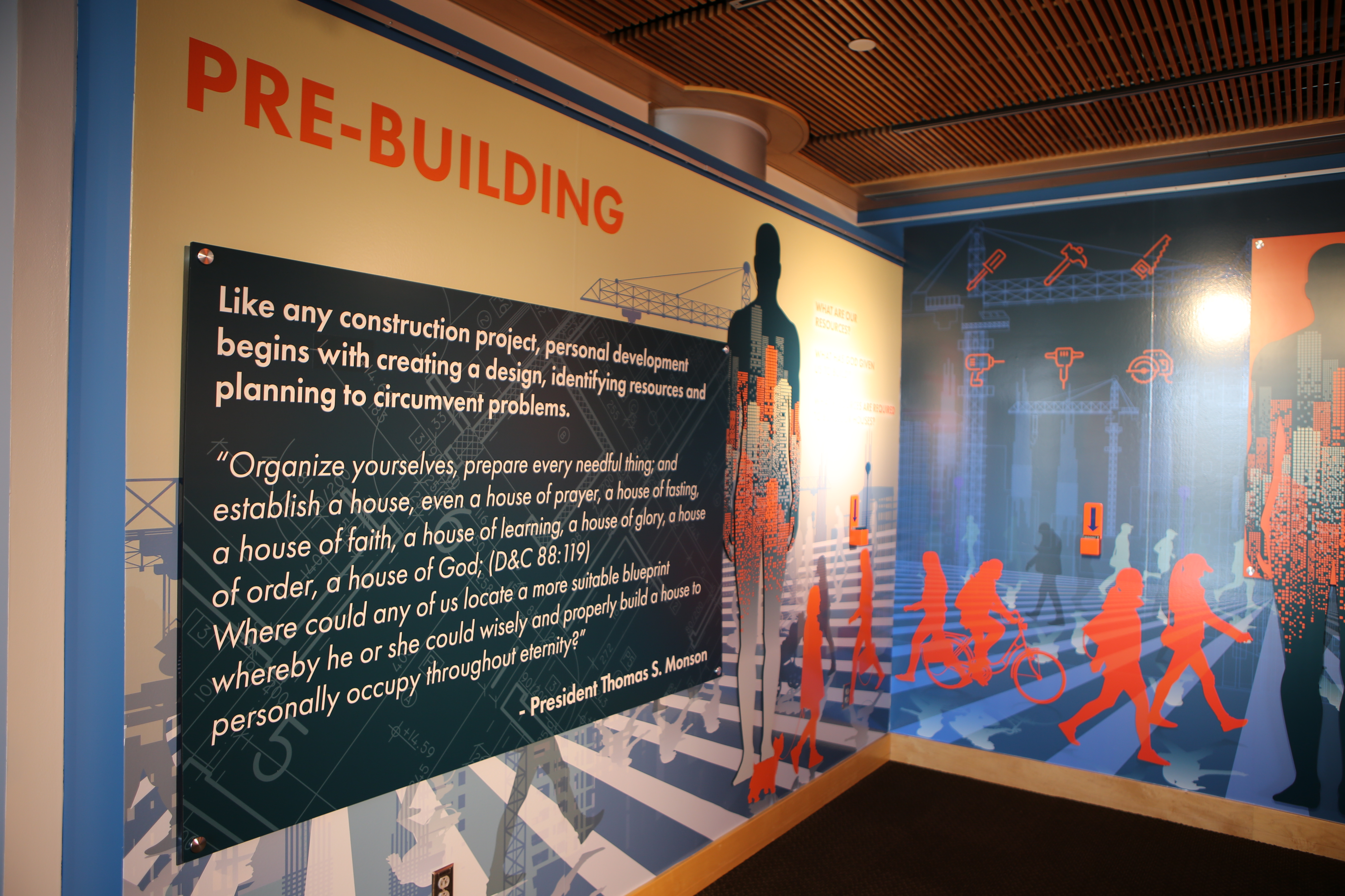 """The words of scriptures and latter-day Church leaders are highlighted in the Brigham Young University exhibition """"Constructing a Soul"""", which is on display as part of the school's Education in Zion Gallery."""