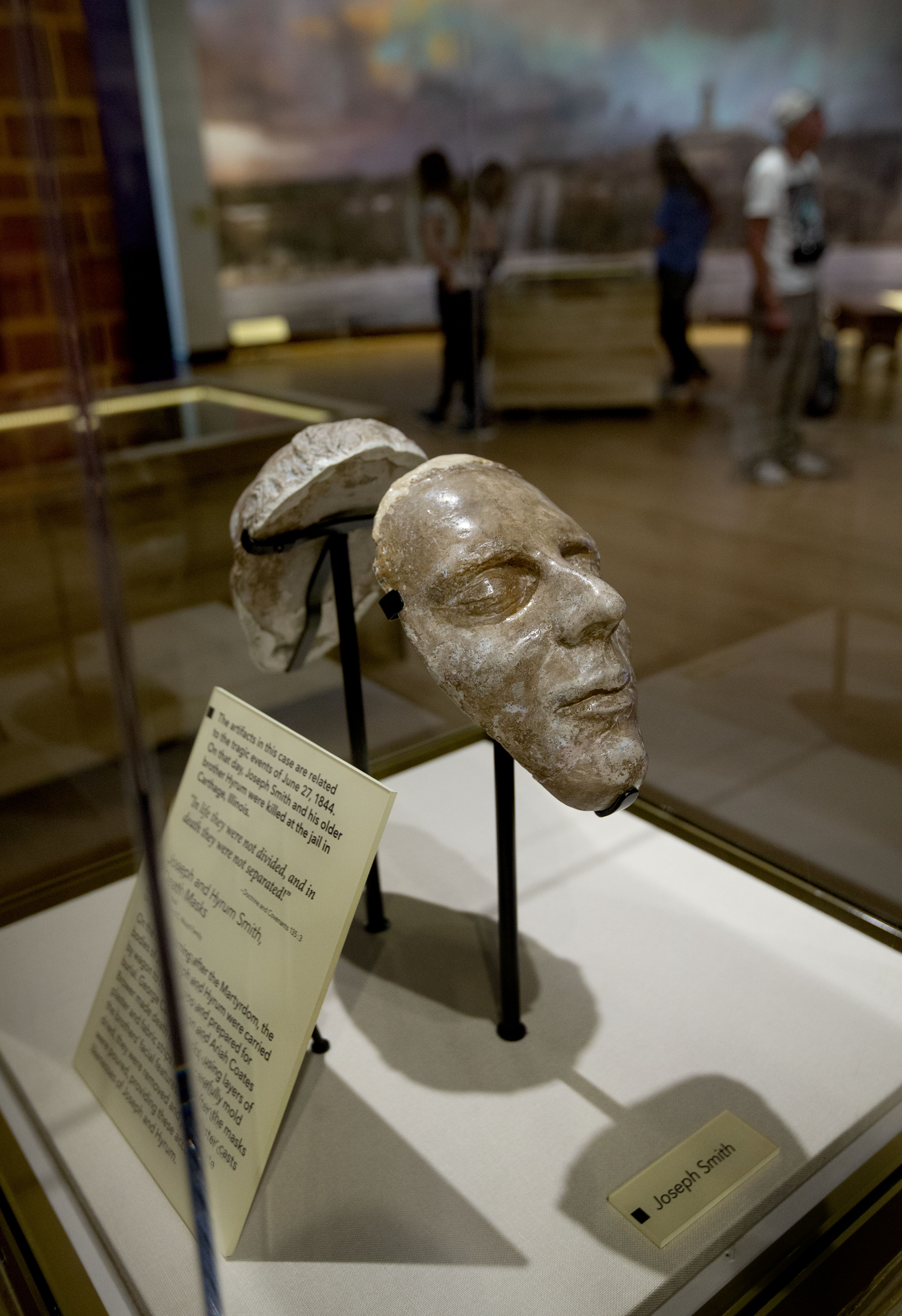 The Dibble death masks of Joseph and Hyrum Smith are displayed at the Church History Museum in Salt Lake City on Thursday, June 13, 2019.