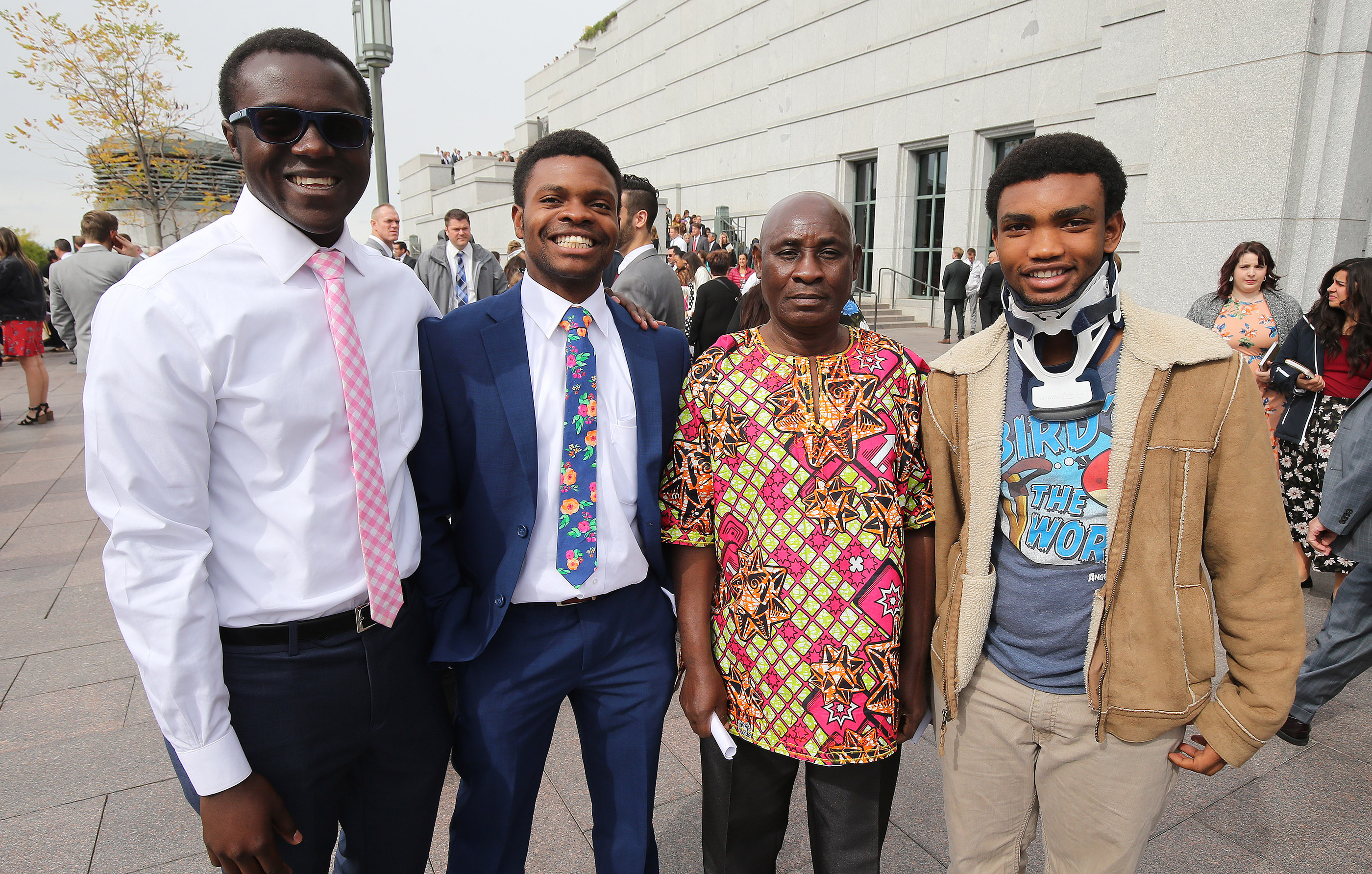 Amani Mitonzi, John Jones, Kasindi Fataki and Ngambo Gasabato attend the 188th Semiannual General Conference of The Church of Jesus Christ of Latter-day Saints in downtown Salt Lake City on Saturday, Oct. 6, 2018.