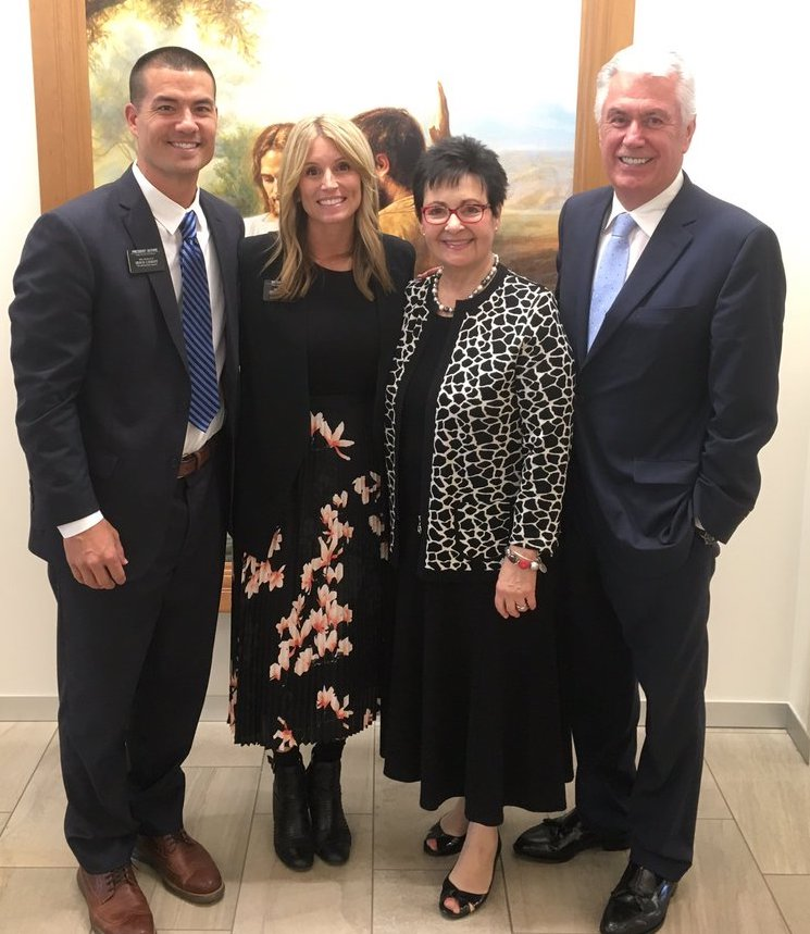 President Jeremy Guthrie and Sister Jenny Guthrie with Elder Dieter F. Uchtdorf and Sister Harriet Uchtdorf at the 2018 Conference for New Mission Presidents and their Wives in Provo, Utah.