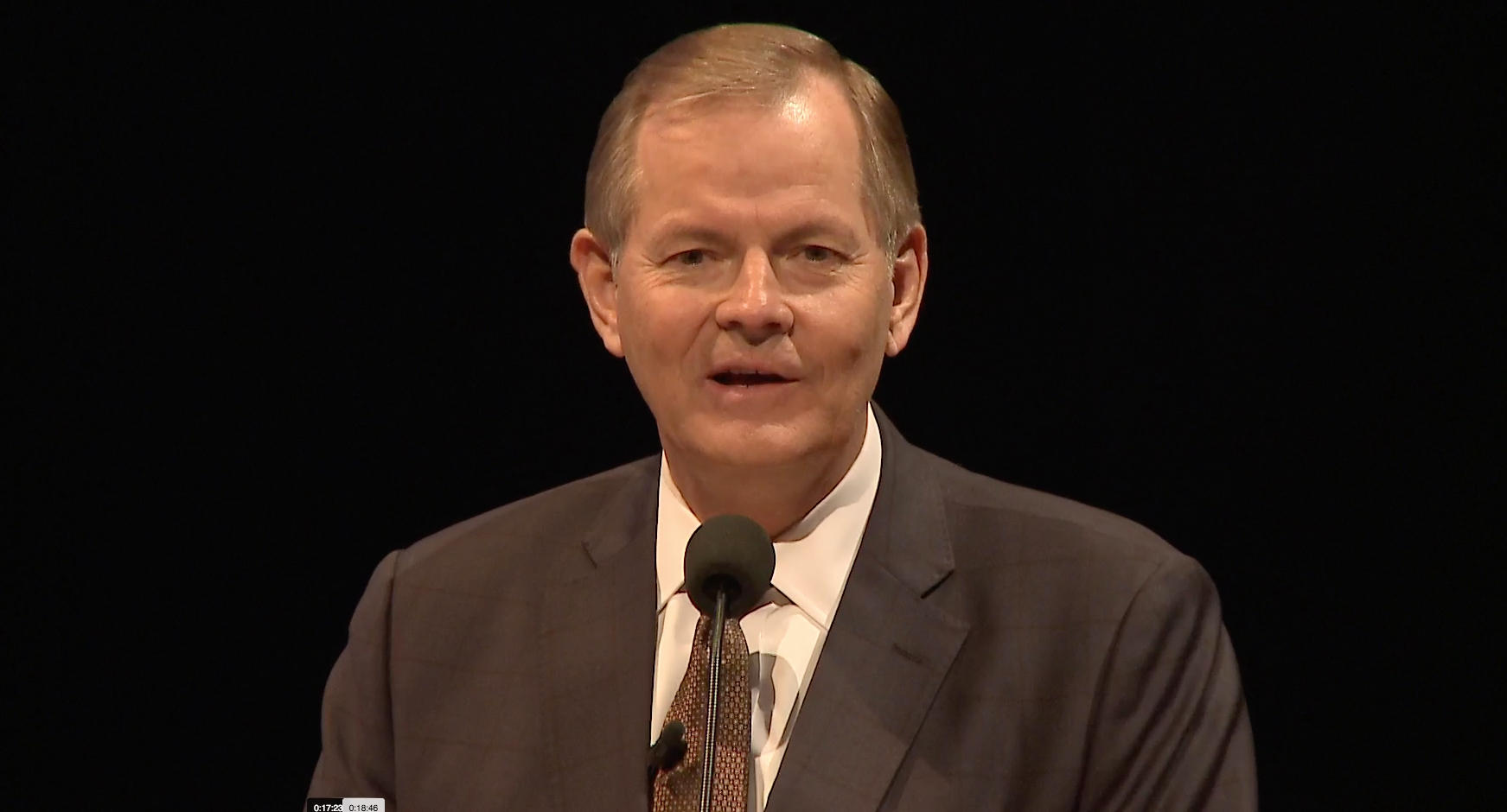 Elder Gary E. Stevenson of the Quorum of the Twelve Apostles offers remarks during an instruction meeting to ward and stake leaders and members with temple and family history work callings and responsibilities. The image is from a screenshot from the Feb. 28 broadcast.