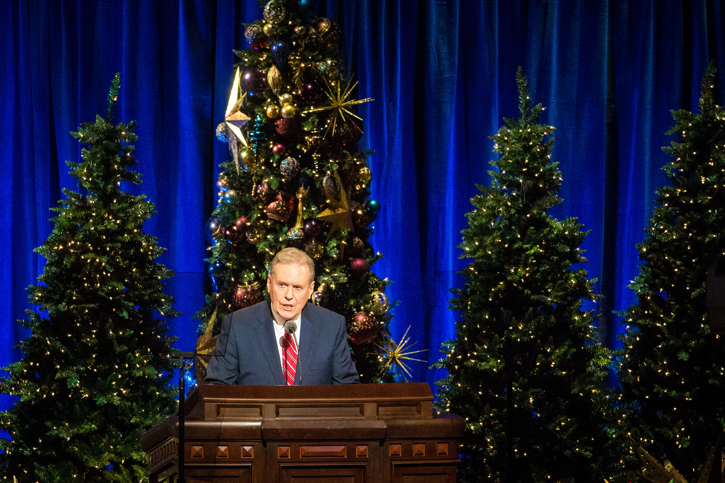 Elder Terence M. Vinson of the Presidency of the Seventy speaks during the First Presidency's Christmas Devotional in the Conference Center in Salt Lake City on Sunday, Dec. 2, 2018.