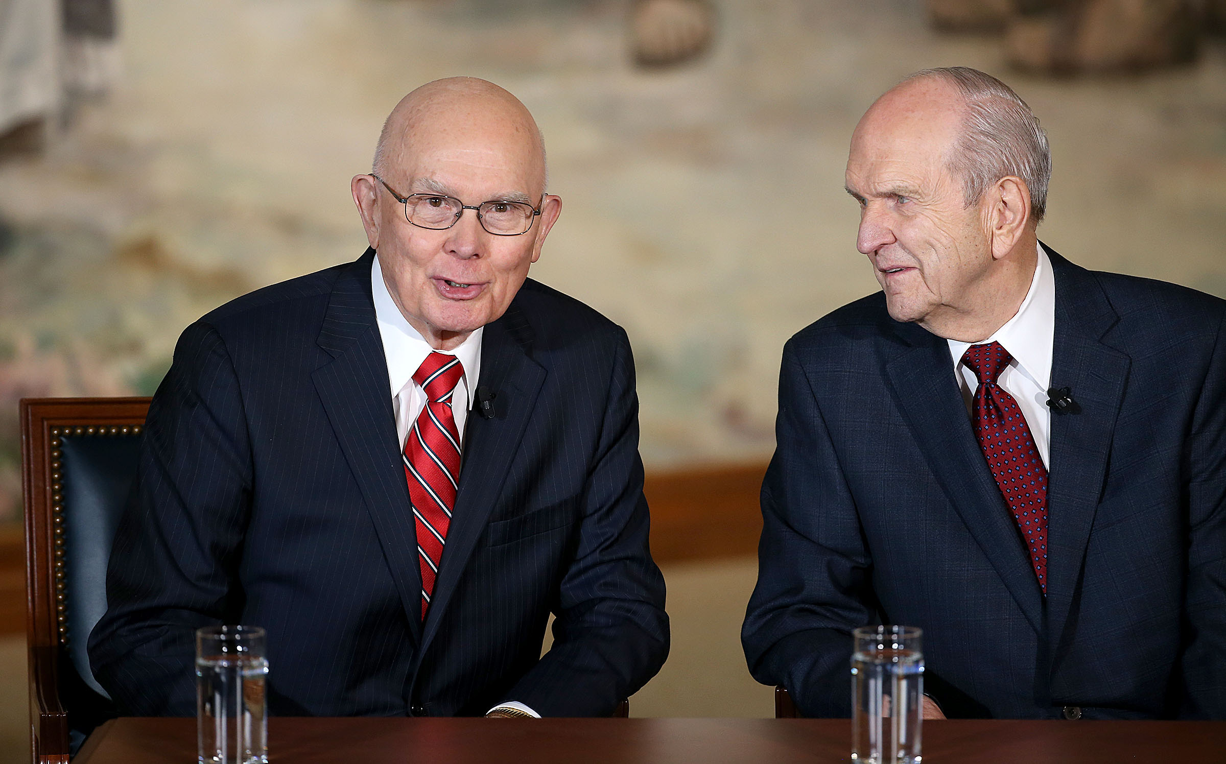 President Russell M. Nelson, center, is announced as the 17th president of The Church of Jesus Christ of Latter-day Saints Tuesday, Jan. 16, 2018. At left, President Dallin H. Oaks, first counselor.