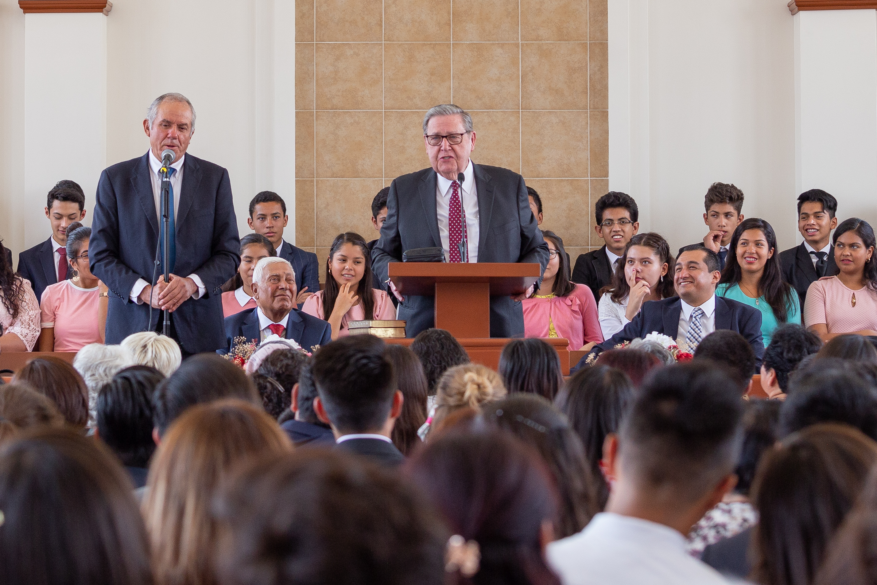 Elder Jeffrey R. Holland of the Quorum of the Twelve Apostles addresses members during a special stake conference at the Tula Mexico Stake Center north of Mexico City on Sunday, May 26, 2019.