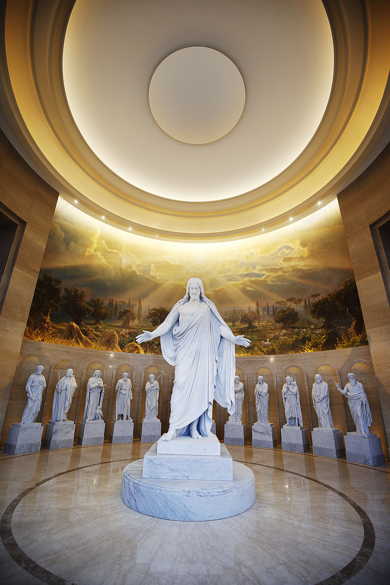 Statues of Christ and the apostles are displayed in the Rome Temple Visitors' Center of The Church of Jesus Christ of Latter-day Saints in Rome, Italy, on Sunday, Jan. 13, 2019.