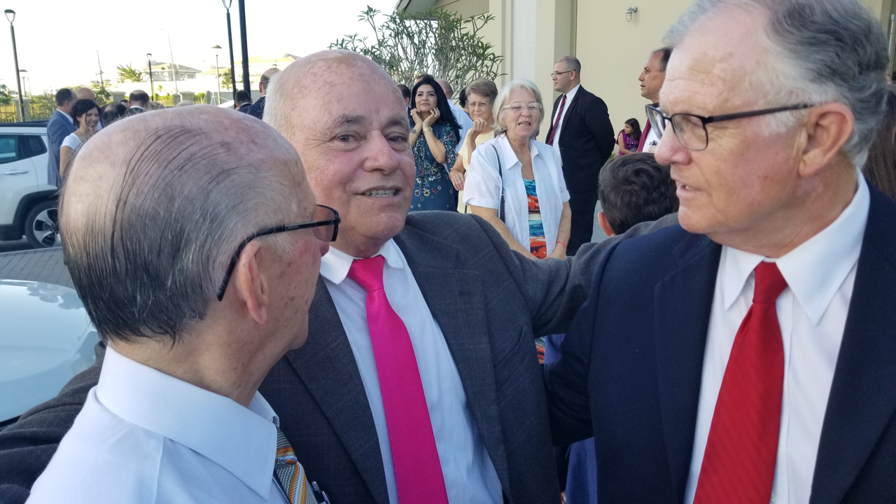 Two of the earliest Church converts in Fortaleza, Brazil — Lino Cintra, left, and Antonio Ferreira, center — visit with John M. Beck of Provo, who taught them and their families in 1966, on June 1, 2019. They reunited for the first time during the weekend of the June 2 dedication of the Fortaleza Brazil Temple.