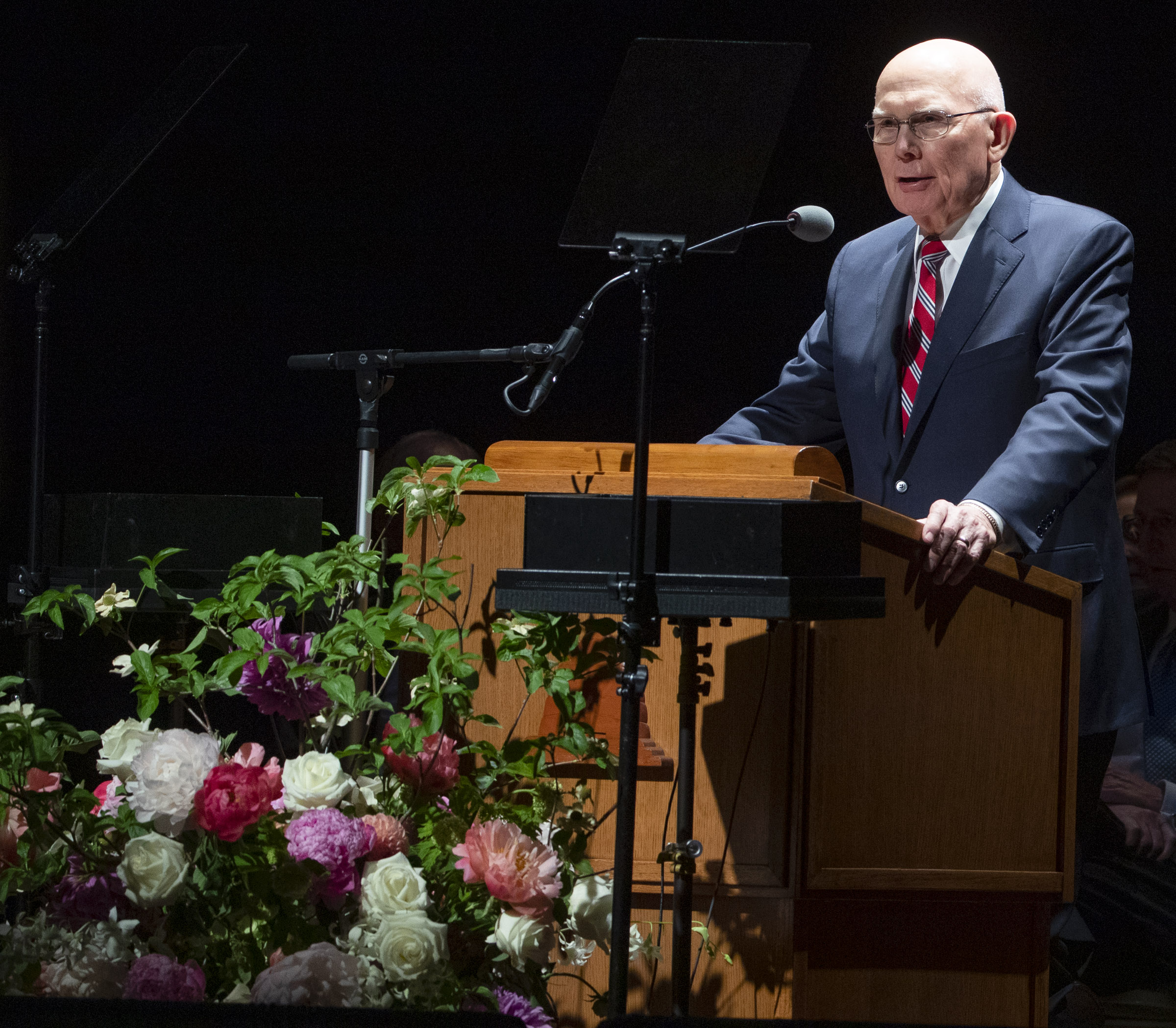 President Dallin H. Oaks, first counselor in the First Presidency, speaks to youth during a devotional at the Interstake Center on the Oakland California Temple grounds on Saturday, June 15, 2019.