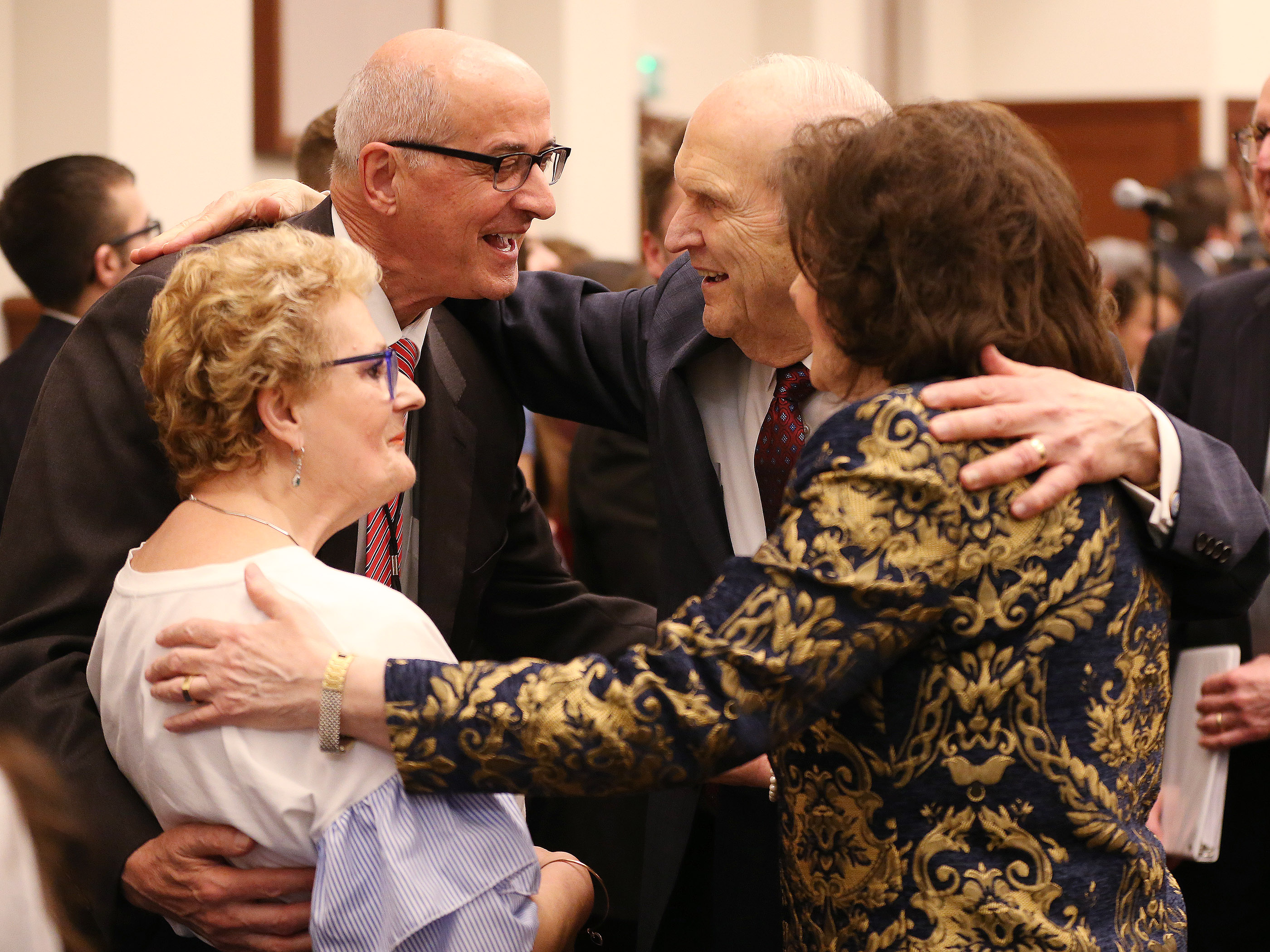 President Russell M. Nelson of The Church of Jesus Christ of Latter-day Saints and his wife, Sister Wendy Nelson, greet Raymond and Anita Castellani after a youth devotional in Rome, Italy, on Saturday, March 9, 2019.