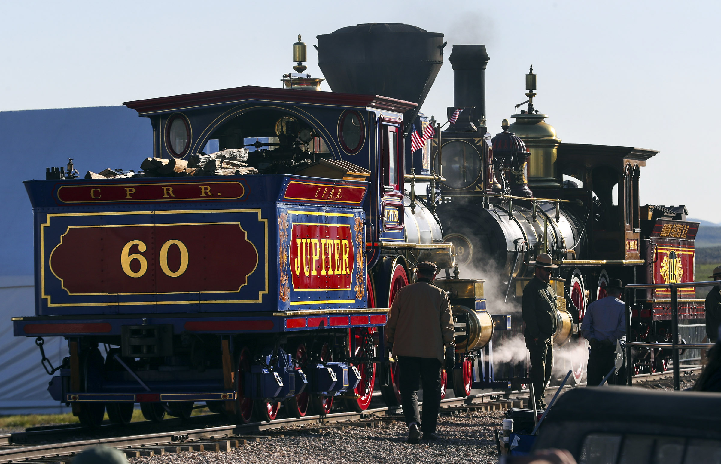 The Jupiter, Central Pacific's No. 60 and the Union Pacific No. 119 locomotives arrive during the Golden Spike Sesquicentennial Celebration and Festival at Promontory Summit on Friday, May 10, 2019.