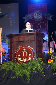 President Thomas S. Monson delivers the commencement address during the May 6, 2011, graduation exercises at Dixie State College of Utah.