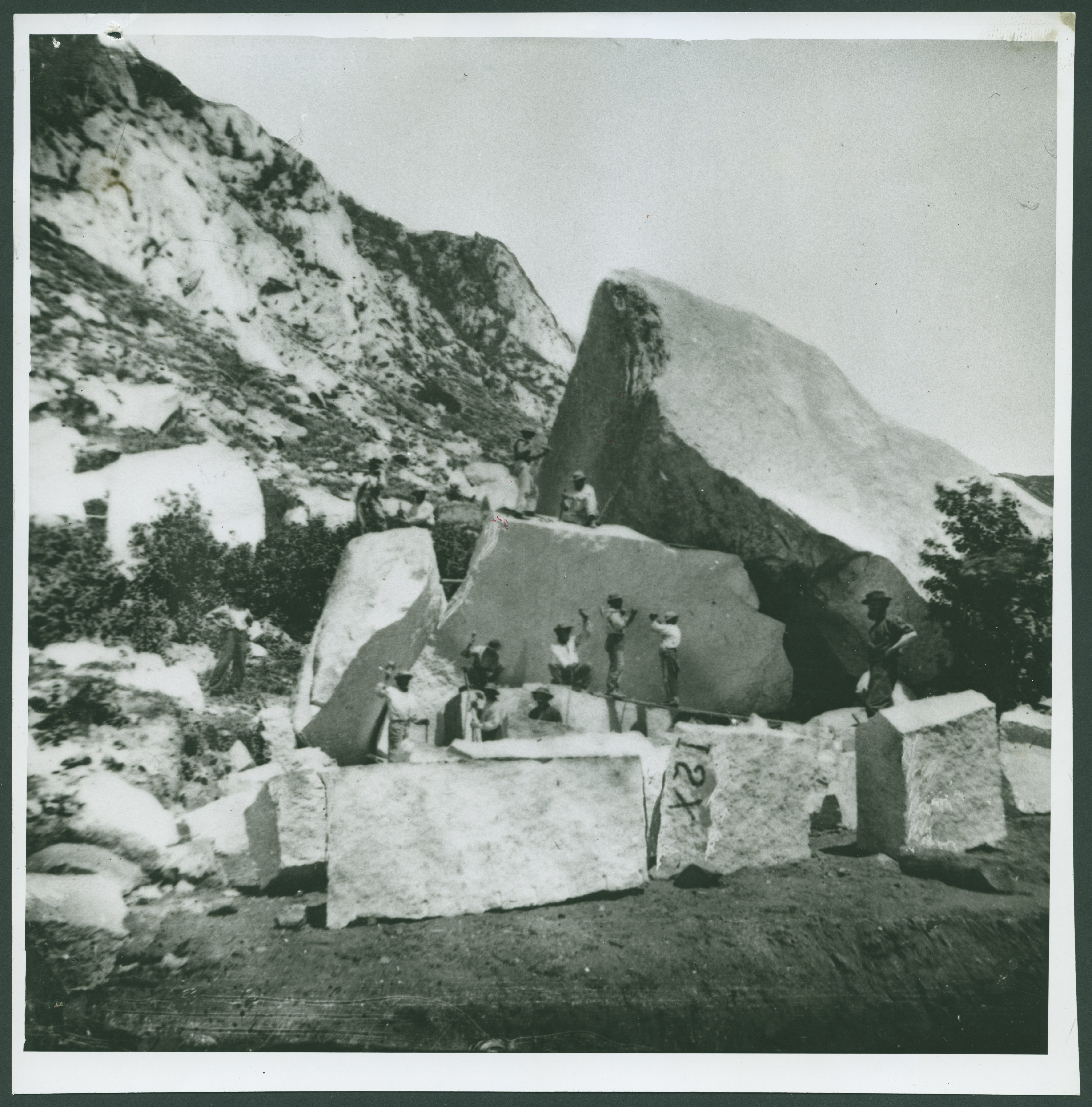Men quarry stone for the construction of the Salt Lake Temple.