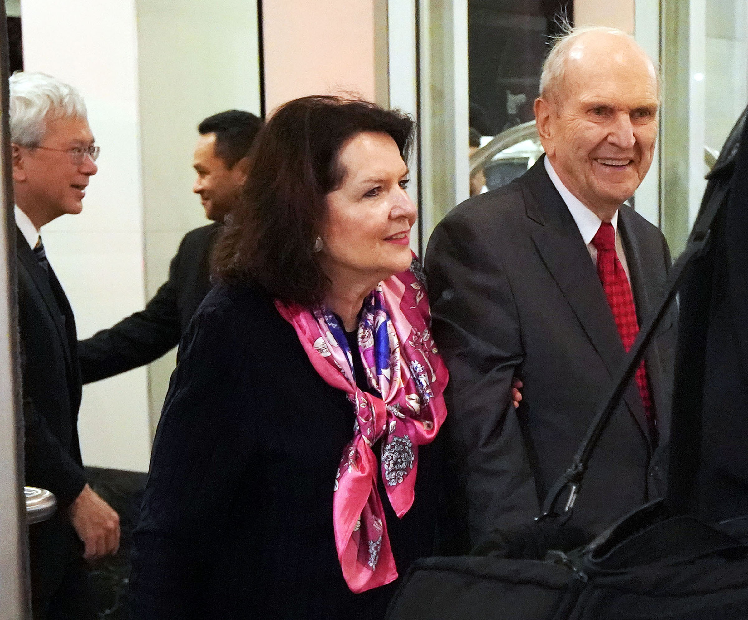 President Russell M. Nelson of The Church of Jesus Christ of Latter-day Saints, and his wife, Sister Wendy Nelson, arrive in Nuku'alofa, Tonga, on Wednesday, May 22, 2019.