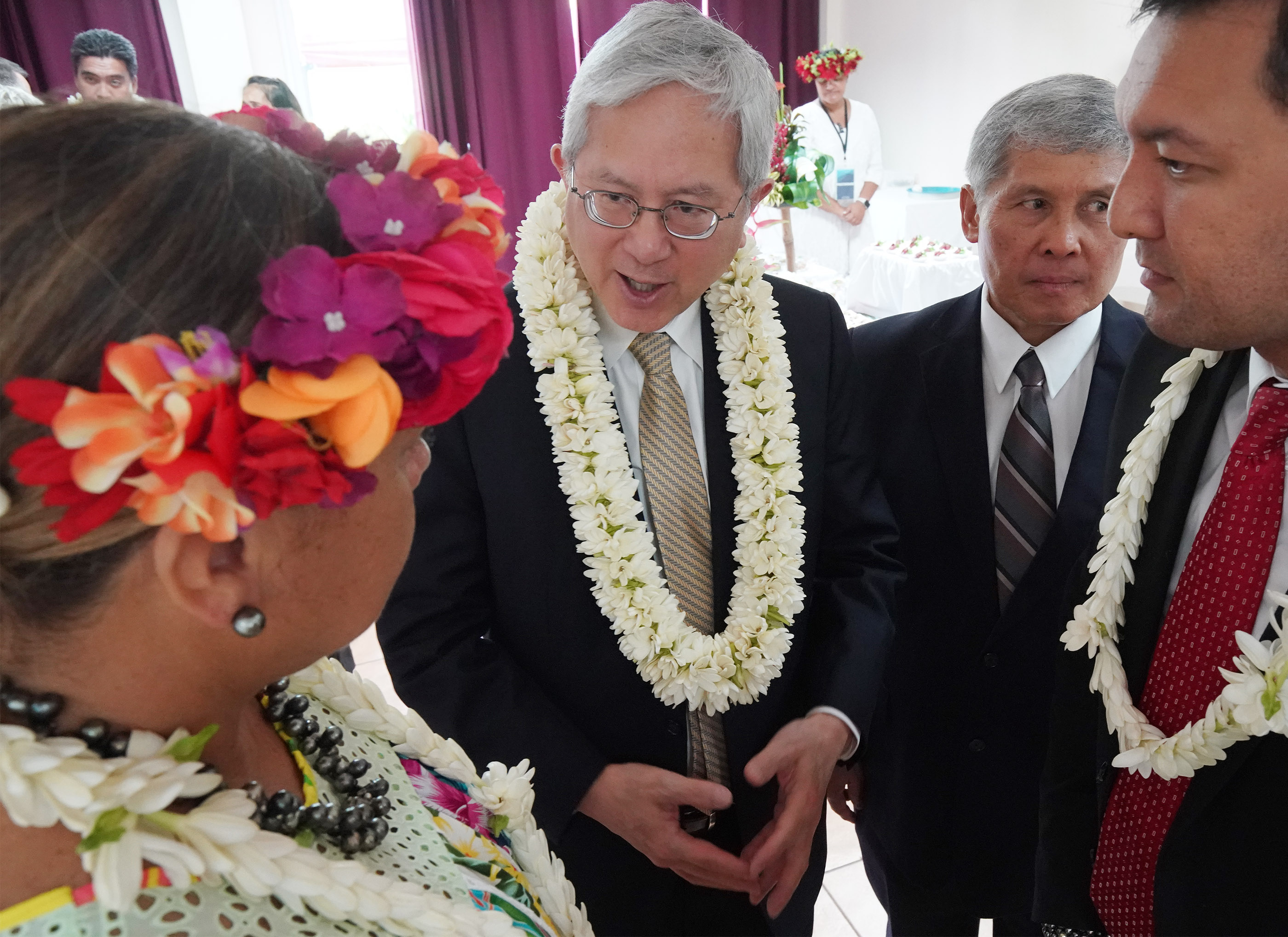 Elder Elder Gerrit W. Gong of The Church of Jesus Christ of Latter-day Saints' Quorum of the Twelve Apostles speaks to dignitaries in Papeete, Tahiti, on May 24, 2019.