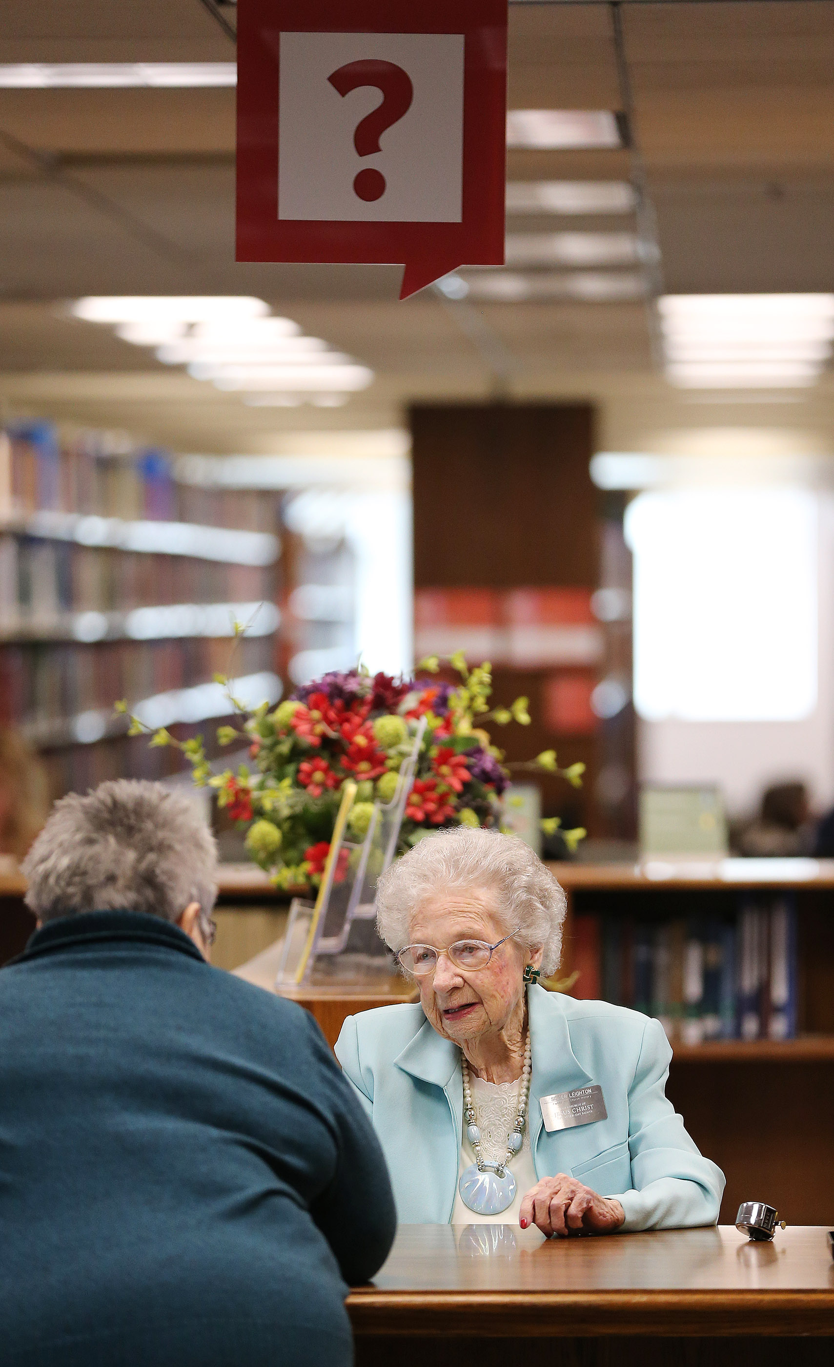 Nellie Leighton, 99, welcomes visitors to the Family History Library in Salt Lake City on Tuesday, Jan. 22, 2019. Leighton will celebrate her 100th birthday in February.