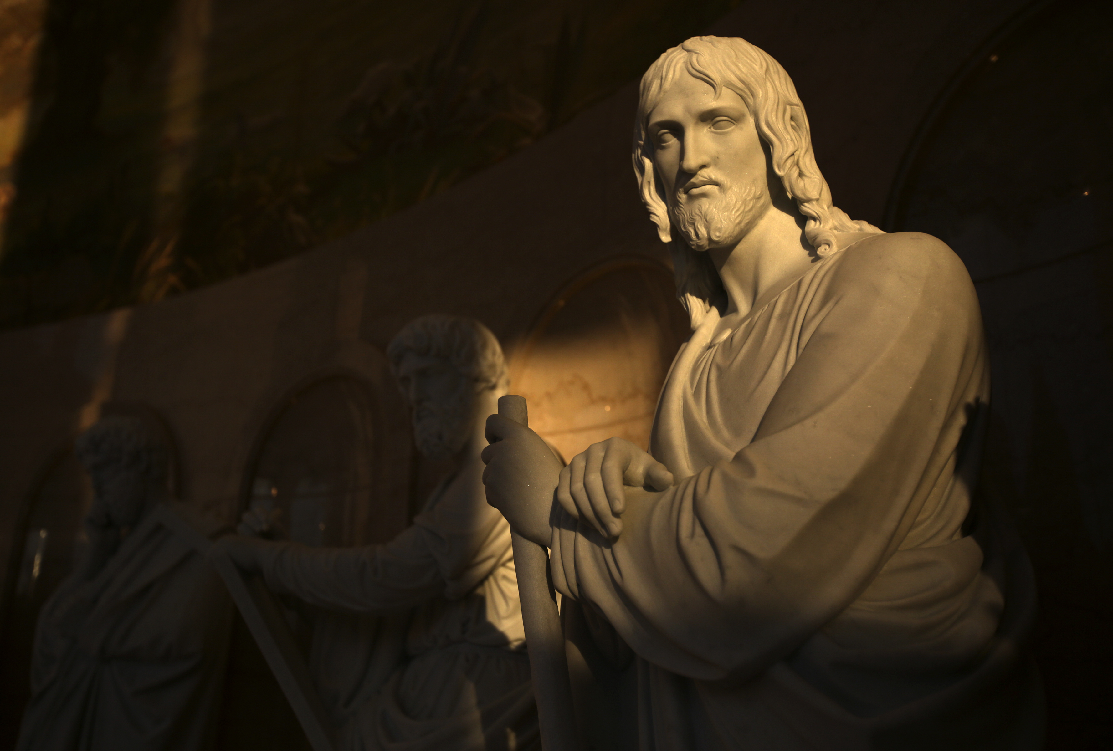 A replica of Bertel Thorvaldsen's James, the son of Alpheus, or James the less, is on display with statues of the other 12 apostles in the visitors' center for the Rome Temple in Rome, Italy, on Friday, Nov. 16, 2018.