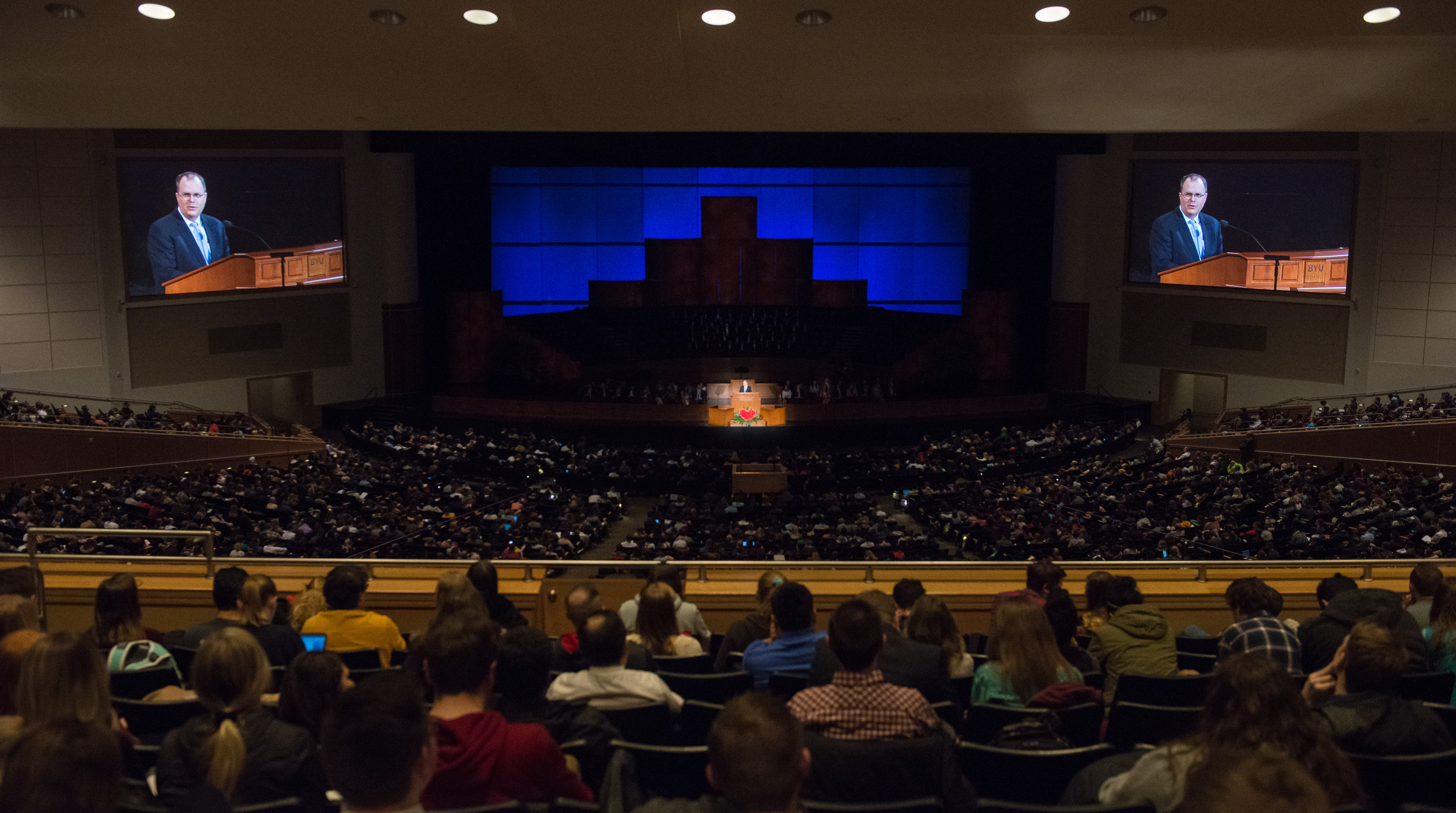 Brian K. Ashton, second counselor in the Sunday School general presidency speaks at a BYU Idaho devotional on Feb. 12.