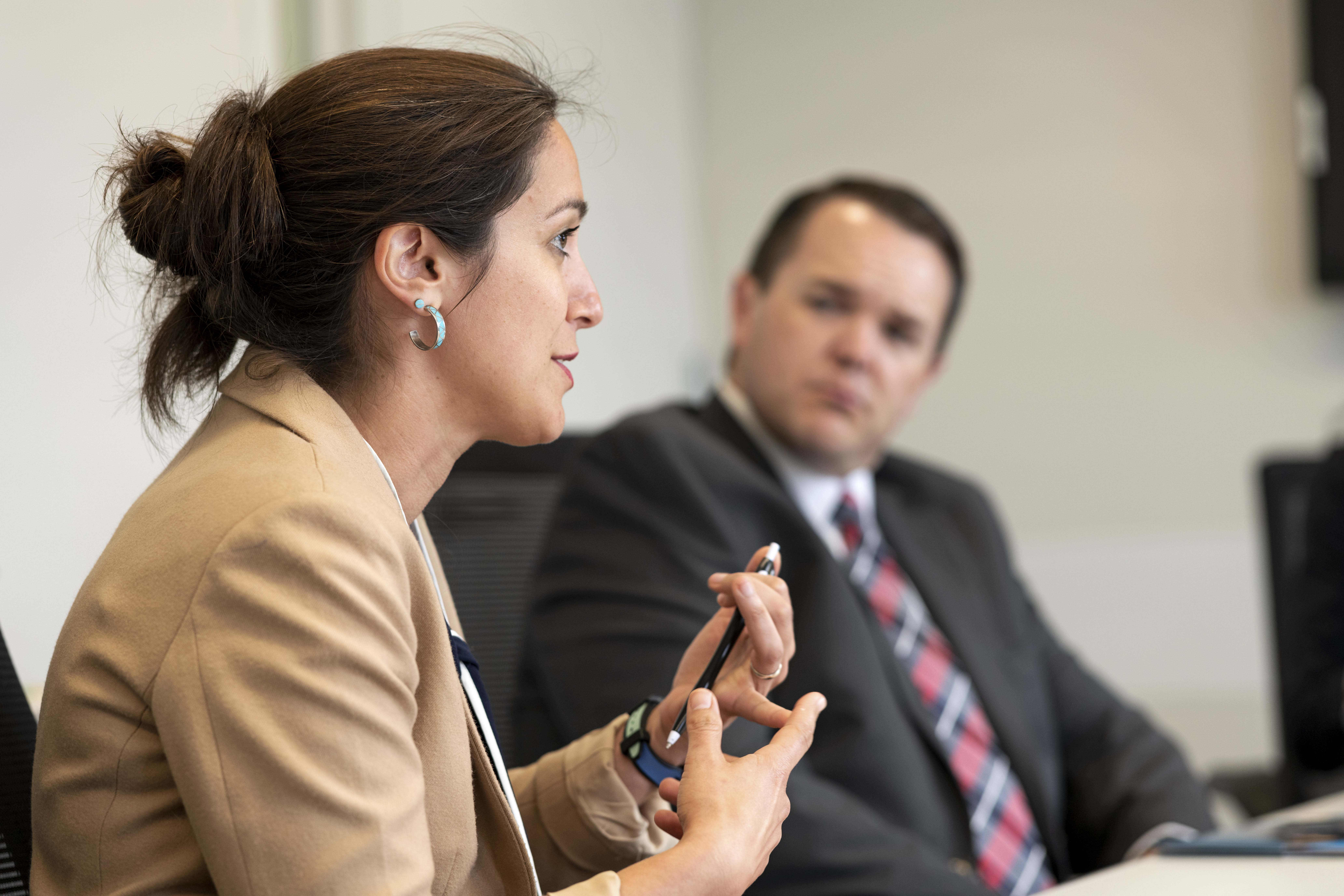 Nina Zelic, senior director for programs for the Lutheran Immigration and Refugee Service, discusses the needs their organization meets while Shawn Johnson, director of Church Humanitarian Services, listens. Latter-day Saint Charities distributed grants to charities to help in their service to those in need on May 14 and 15, 2019.