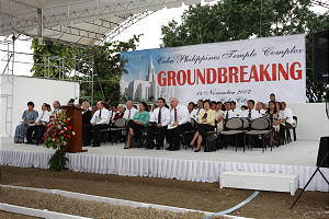 Members await ceremonial groundbreaking for Cebu Philippines Temple. The temple will be the centerpiece in a complex that includes a meetinghouse, patron housing, temple president's residence and mission headquarters.