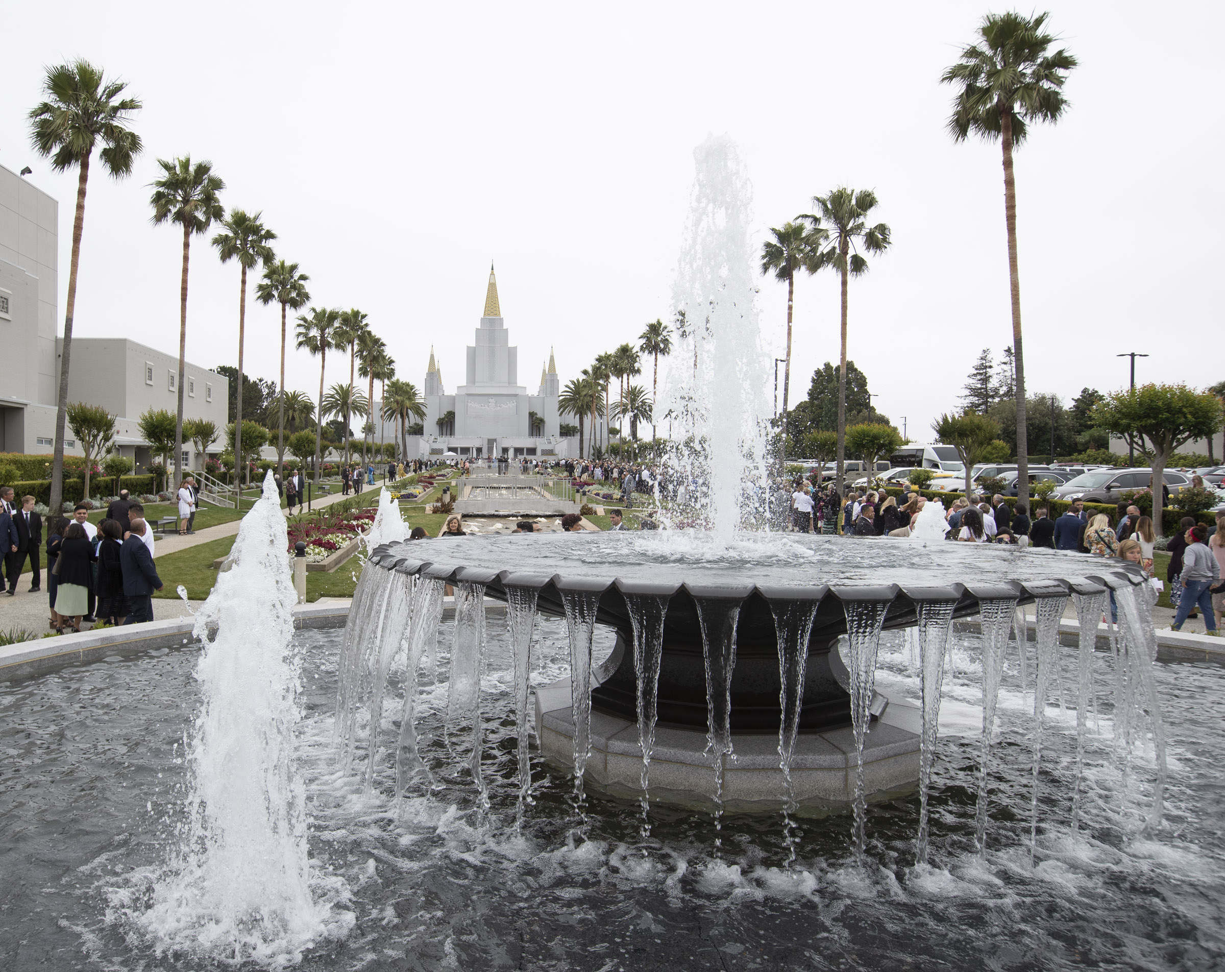 Latter-day Saints enjoy the gardens outside the Oakland California Temple as President Dallin H. Oaks, first counselor in the First Presidency, rededicate the building on Sunday, June 16, 2019.