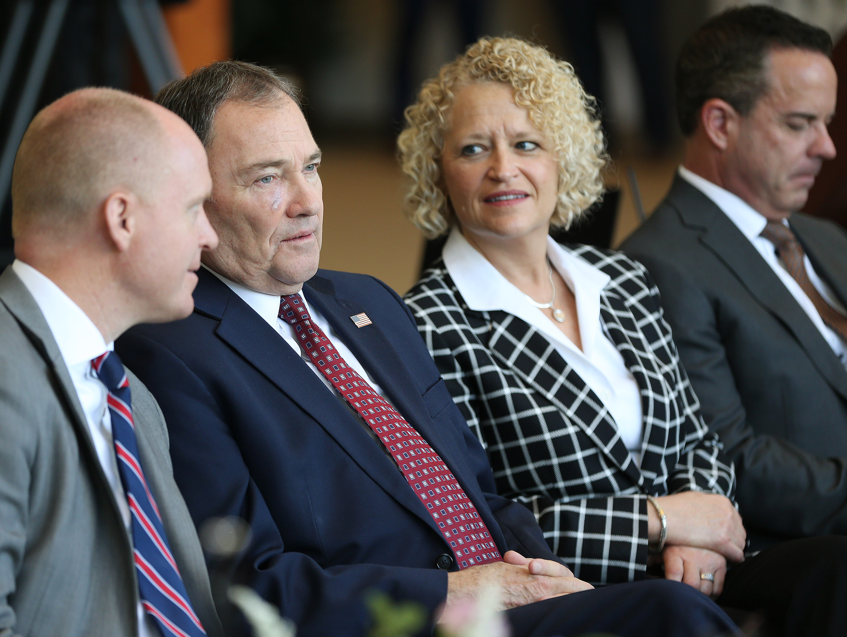 Gov. Gary Herbert and Salt Lake City Mayor Jackie Biskupski sit in a press conference as leadership of The Church of Jesus Christ of Latter-day Saints announce renovation plans for the Salt Lake Temple and changes to the temple grounds and Temple Square at a press conference in Salt Lake City on Friday, April 19, 2019.