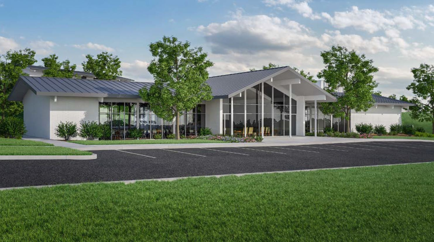 Rendering of Arrival Centre near the Hamilton New Zealand Temple.