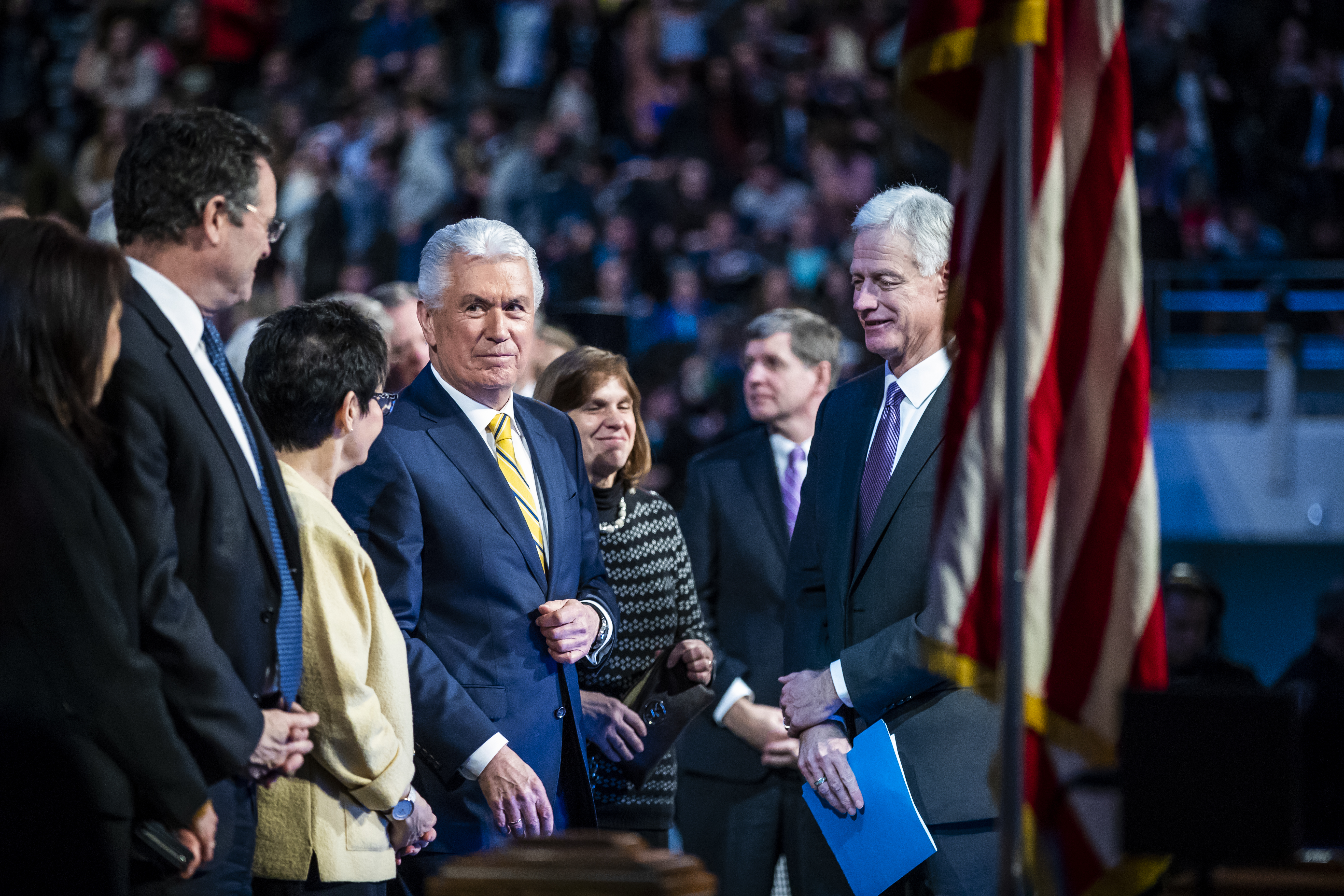 Elder Dieter F. Uchtdorf of the Quorum of the Twelve Apostles at a devotional on the BYU campus in Provo, Utah on Tuesday, Jan. 15, 2019.
