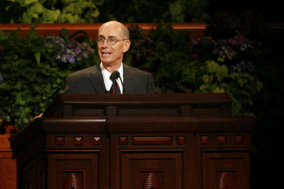 President Henry B. Eyring, first counselor in the First Presidency, speaks during the general Relief Society meeting in the Conference Center Saturday.