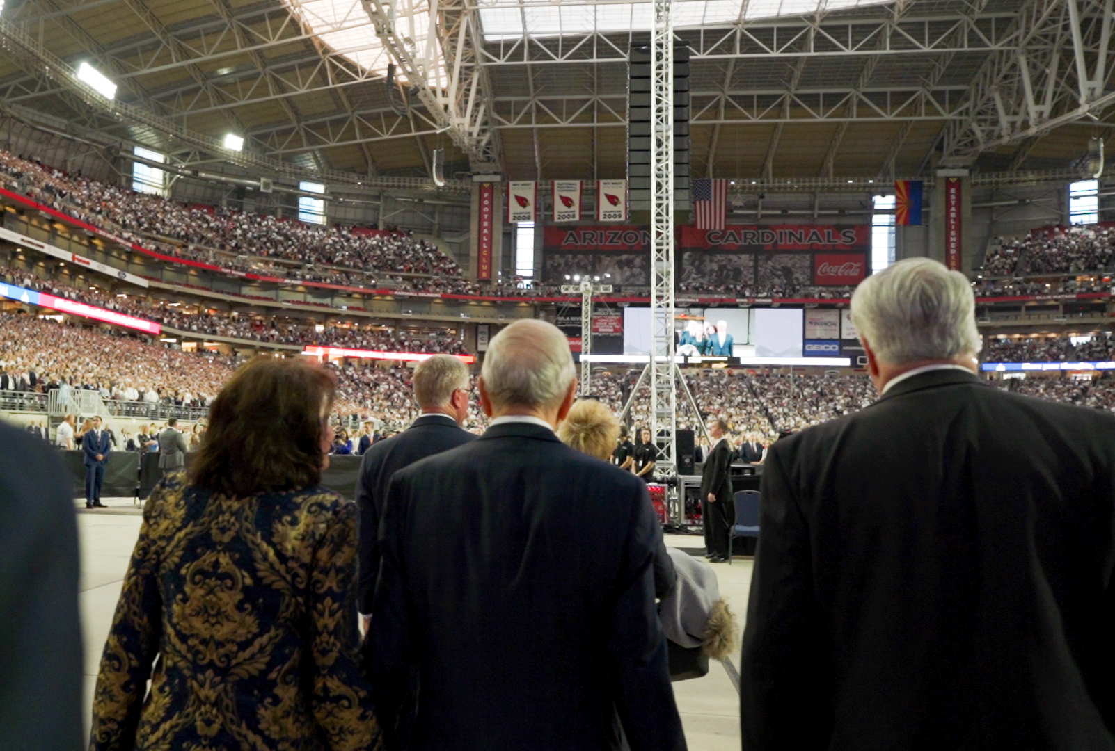 President Russell M. Nelson of The Church of Jesus Christ of Latter-day Saints enters State Farm Stadium in Phoenix on Sunday, Feb. 10, 2019. President Nelson is accompanied by his wife, Sister Wendy Nelson; President Dallin H. Oaks, first counselor in the Church's First Presidency; and his wife, Sister Kristen Oaks.