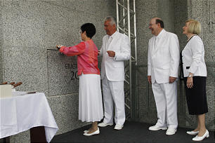 President Dieter F. Uchtdorf participates in the cornerstone ceremony of the Manaus Brazil Temple Sunday, June 10, 2012. Also participating are President Uchtdorf's wife, Harriet, and Elder Quentin L. Cook and his wife, Mary.