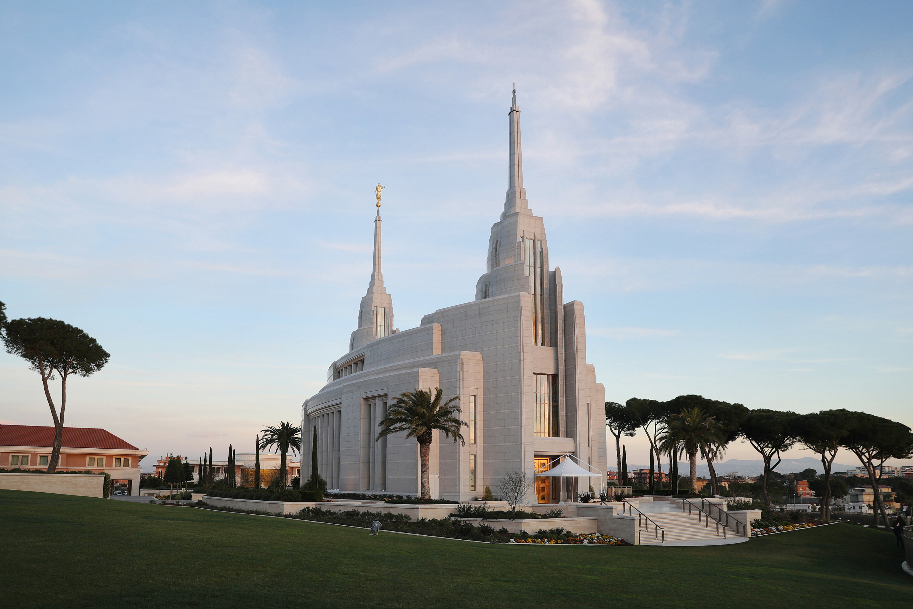 The Rome Italy Temple on a beautiful and warm day in March 9, 2019.