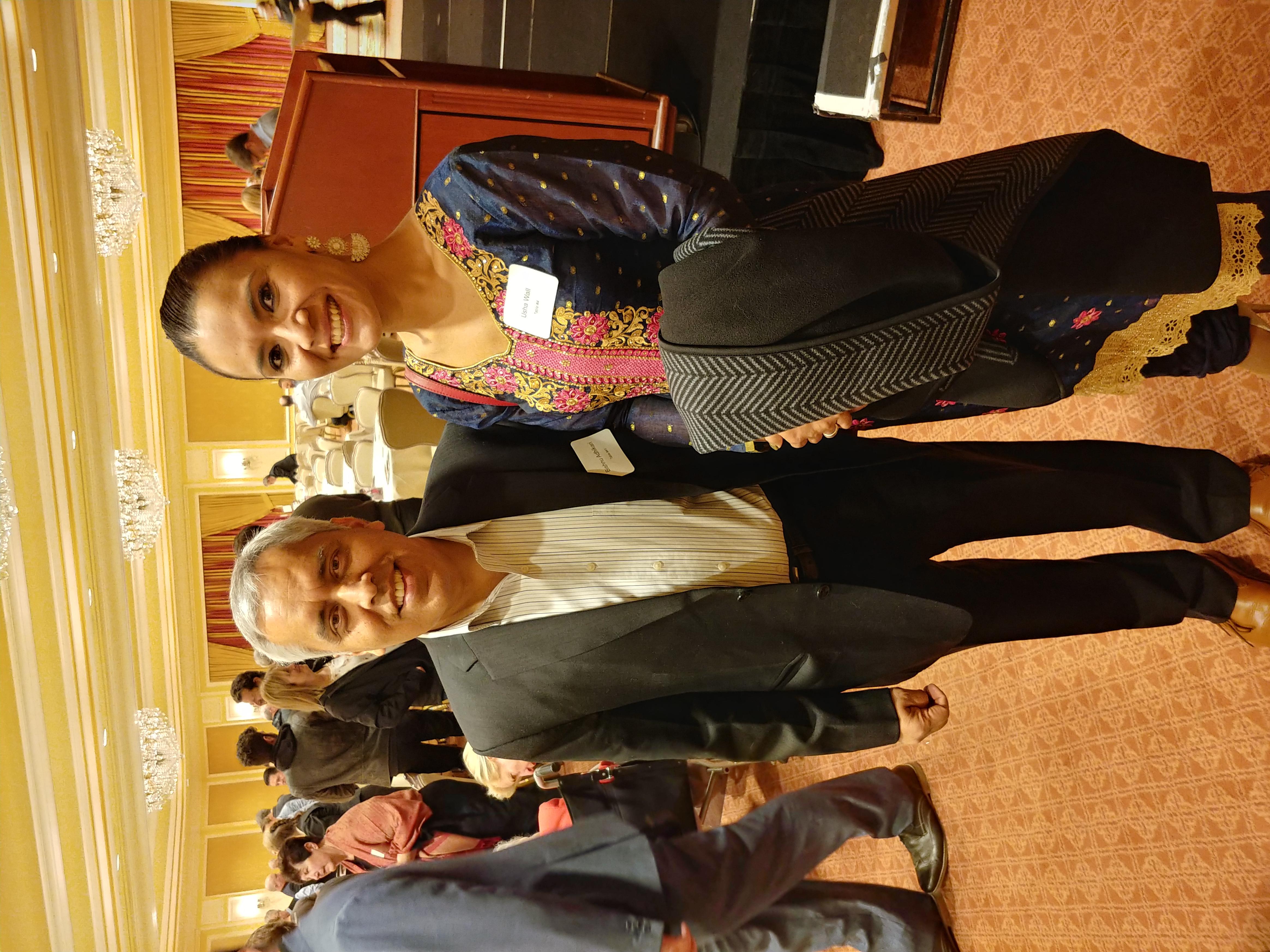 Usha Maharjan with her mentor Bishnu Adhikari at a charity event in Utah.
