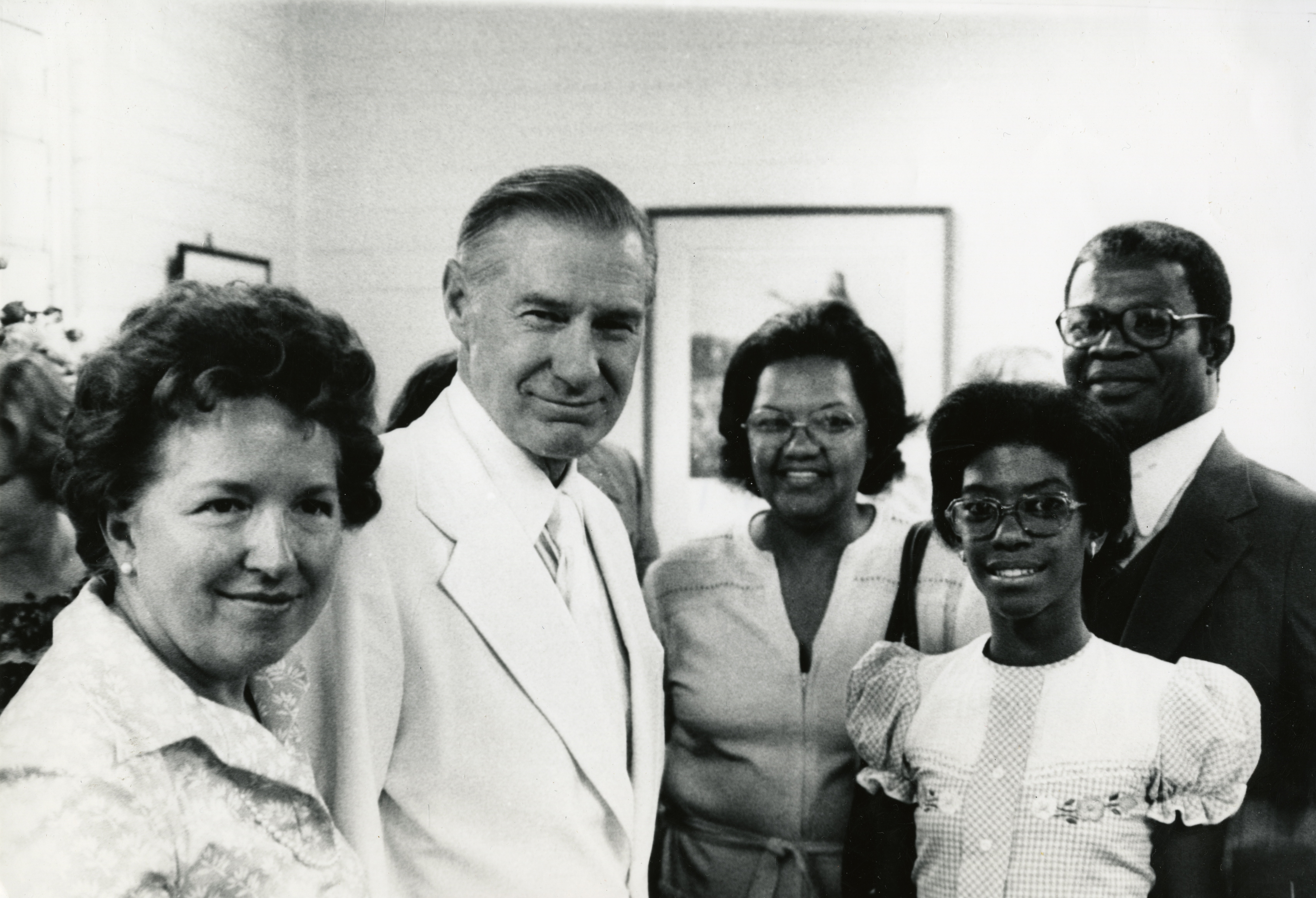 Elder James E. Faust and his wife, Sister Ruth Faust, left, with Helvécio Martins and his family at the dedication of the São Paolo Brazil Temple in November 1978.