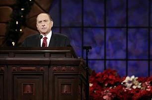 President Thomas S. Monson speaks during the annual First Presidency Devotional.