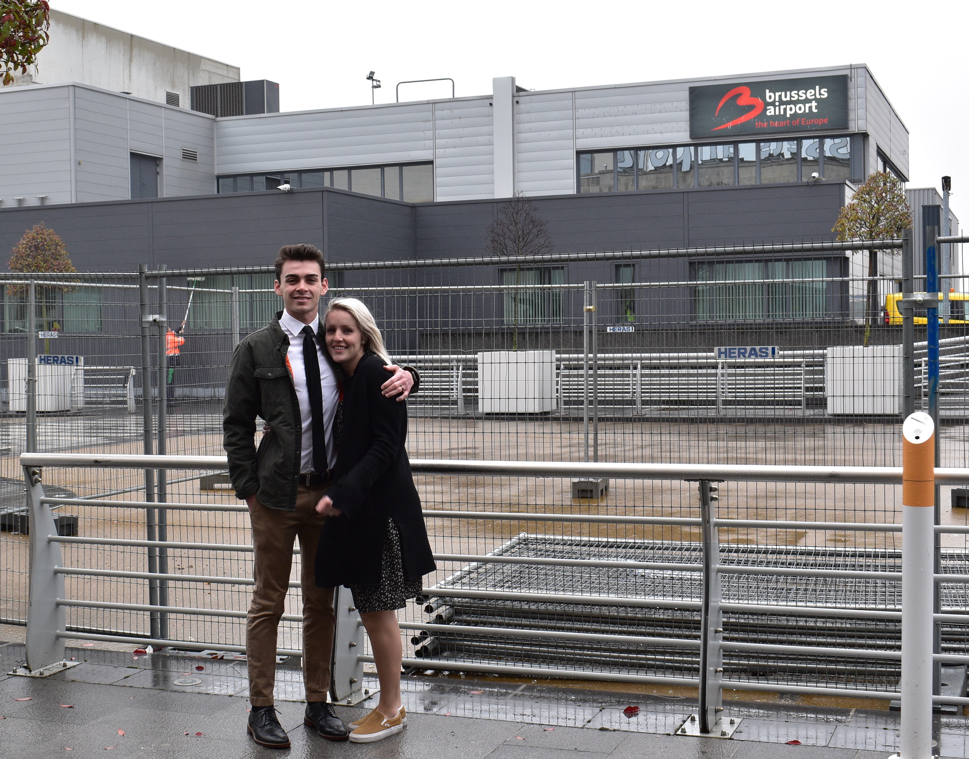 Dres and Elle Empey returned to the Brussels Airport for the two-year anniversary of the Brussels terrorist bombing.