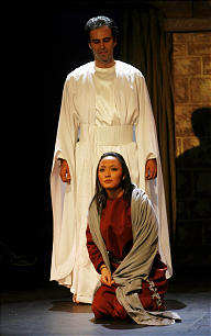 Gabriel addresses Mary, informing her of her divine mission.