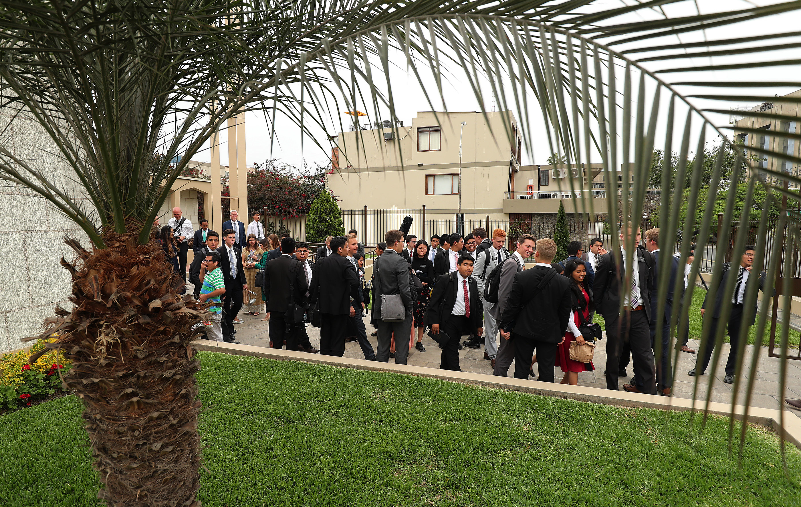Missionairies leave after a meeting with President Russell M. Nelson of The Church of Jesus Christ of Latter-day Saints in Lima, Peru, on Oct. 20, 2018.