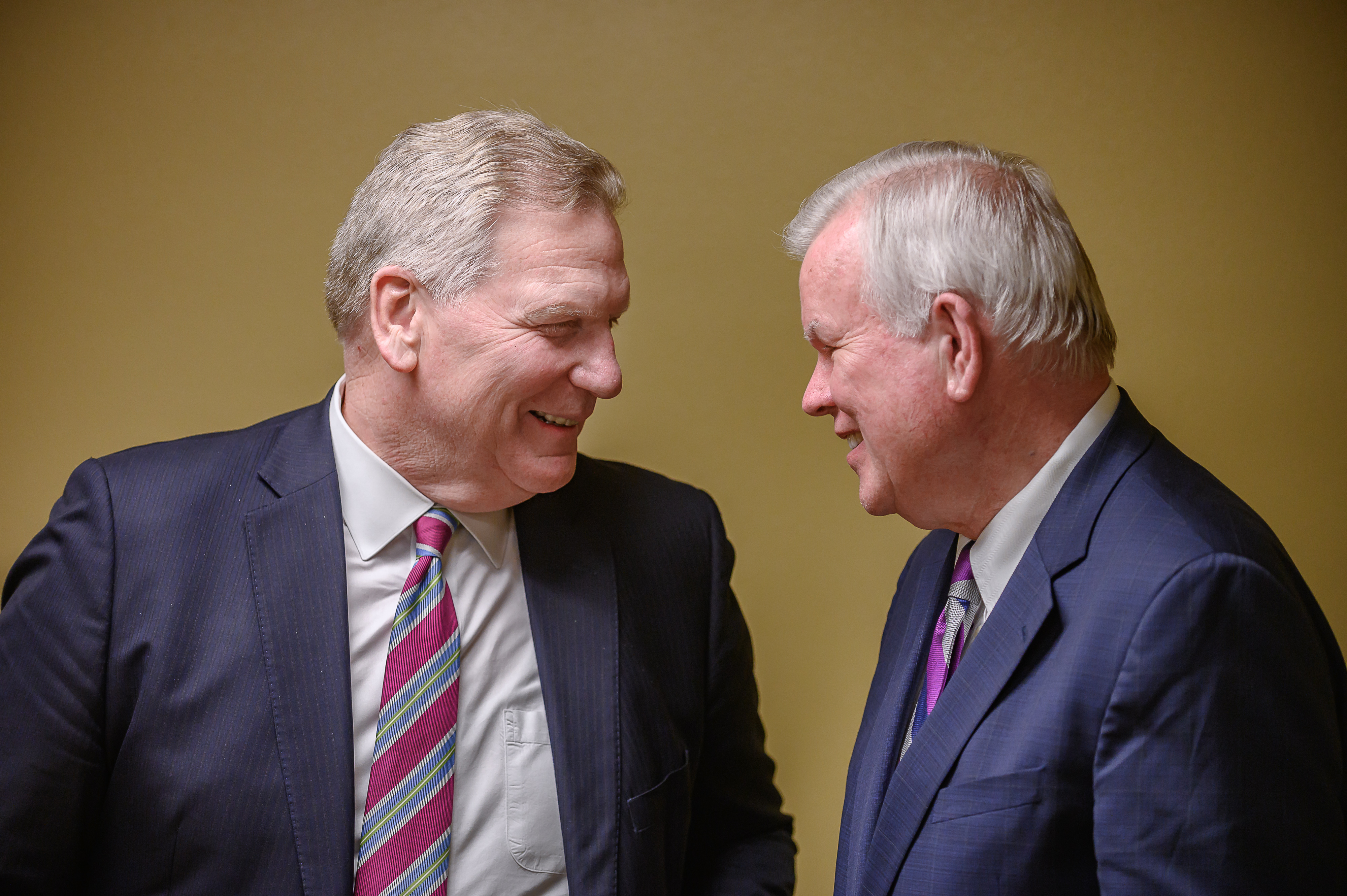 Elder Craig C. Christensen, General Authority Seventy, Area President of the Utah Areas (left) speaks with Elder Steven E. Snow, General Authority Seventy, Church Historian, both of the Church of Jesus Christ of Latter-day Saints, at the Historic Interfaith Tribute at the St. George Tabernacle in St. George, Utah on Thursday, May 2, 2019.