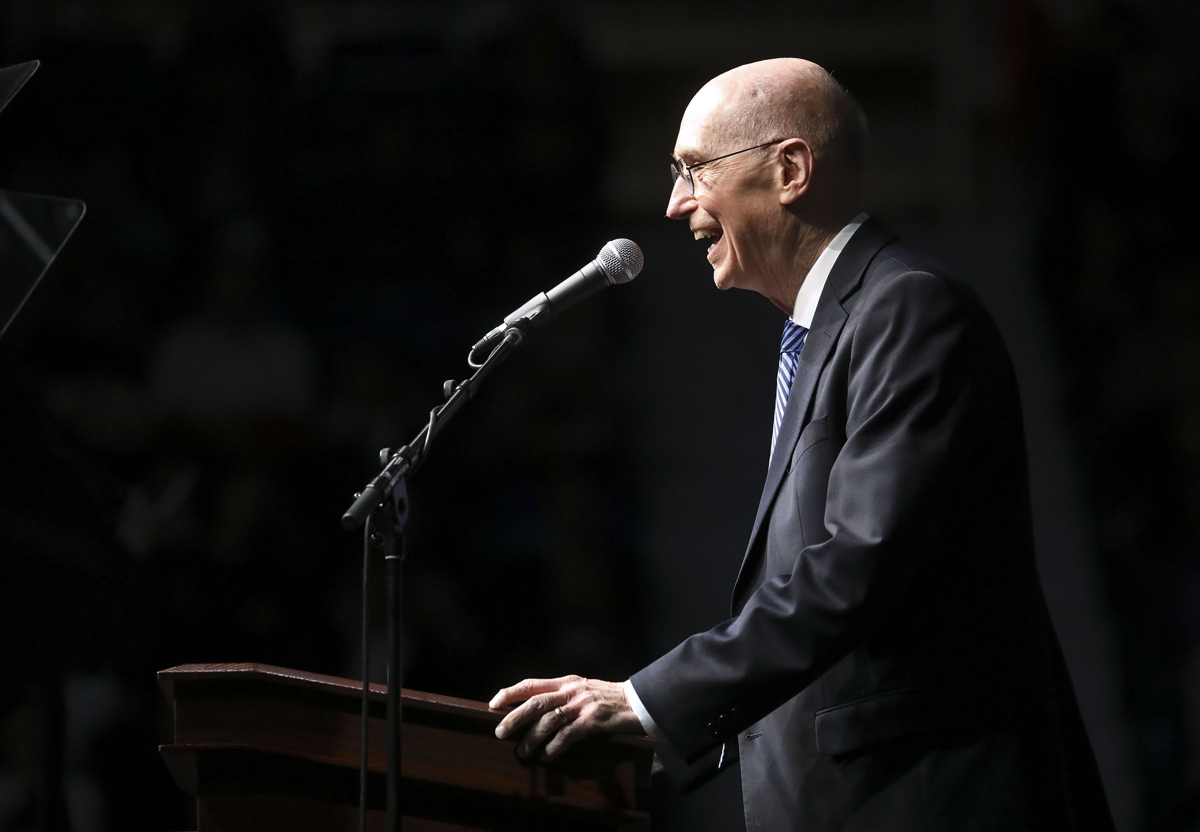 President Henry B. Eyring, second counselor in the First Presidency of The Church of Jesus Christ of Latter-day Saints, speaks at the Langley Events Center in Langley, British Columbia, on Sunday, Sept. 16, 2018.