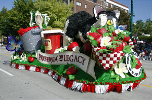 """SWEEPSTAKES AWARD -- The West Jordan Welby Stake's float entitled """"Preserving the Harvest, Continuing a Legacy"""" during the Days of '47 parade Saturday, July 23, 2005. Photo by Jason Olson (Submission date: 07/25/2005)"""