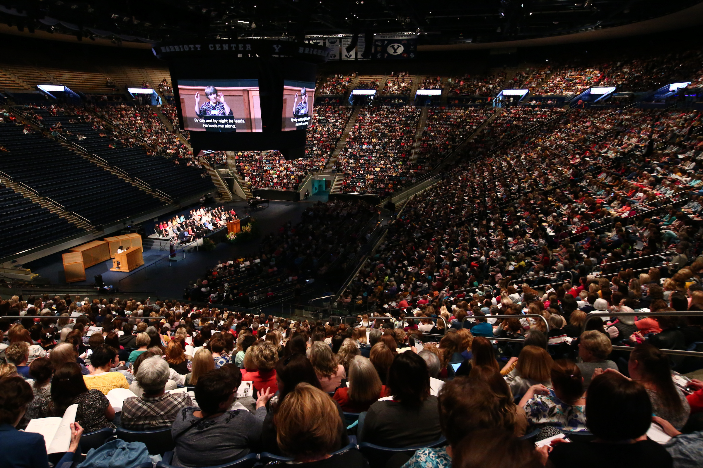 Women meet in the Marriott Center on the BYU campus during BYU Women's Conference held on May 3.