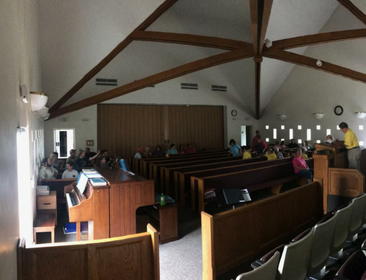 Members gather in the Harkers Island Ward meetinghouse on Sept. 16, 2018, prior to providing service in their community following Hurricane Florence.