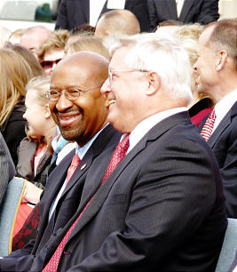 Philadelphia Mayor Michael A. Nutter, left, has worked with Church leaders in the area to bring the first temple in Pennsylvania to his city. He said the temple will be another magnificent addition to the Benjamin Franklin Parkway when it is completed in about three years.