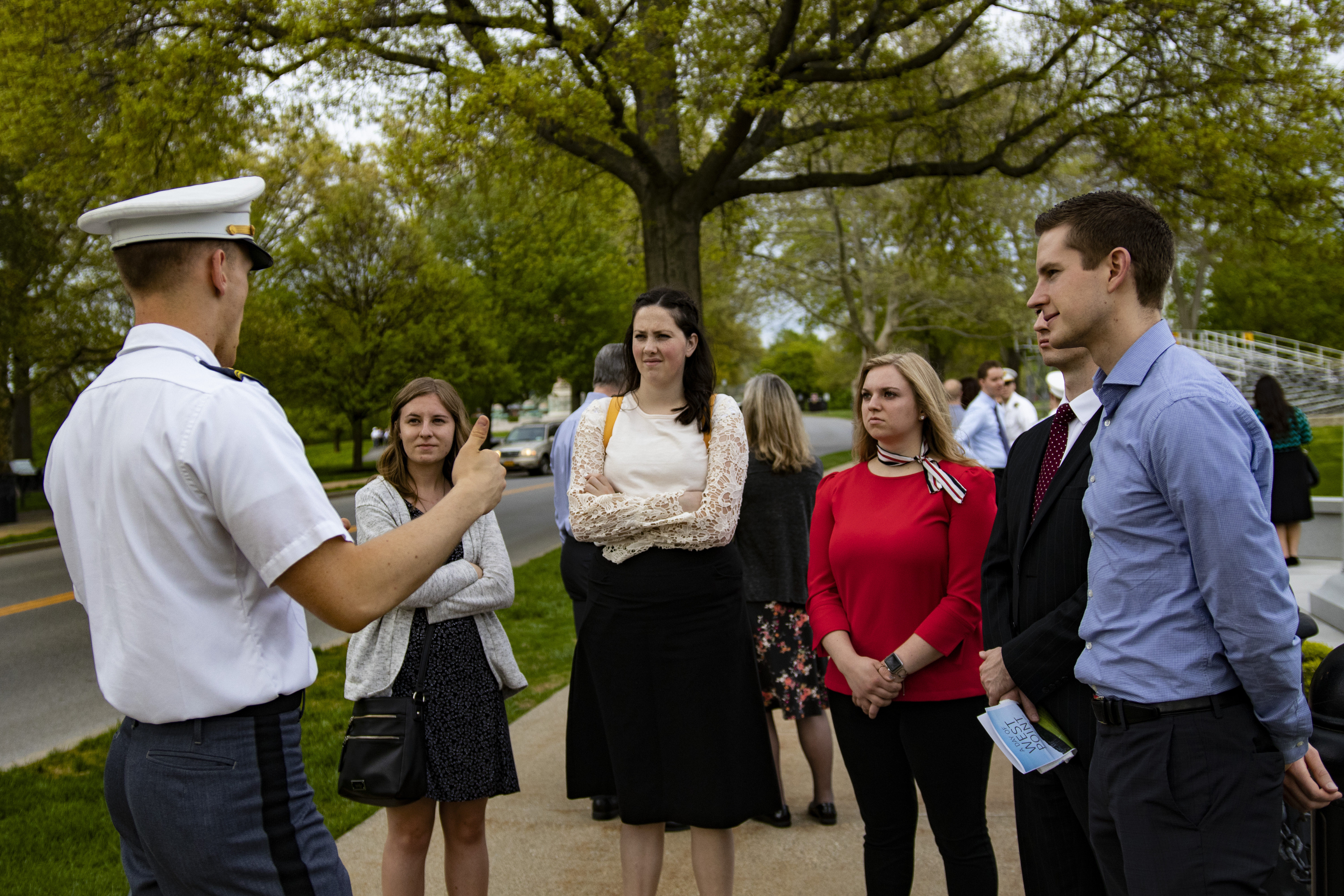 Latter-day Saint cadet Joshua Mooney leads campus tour during May 4, 2019, gathering at the United States Military Academy in West Point, New York.