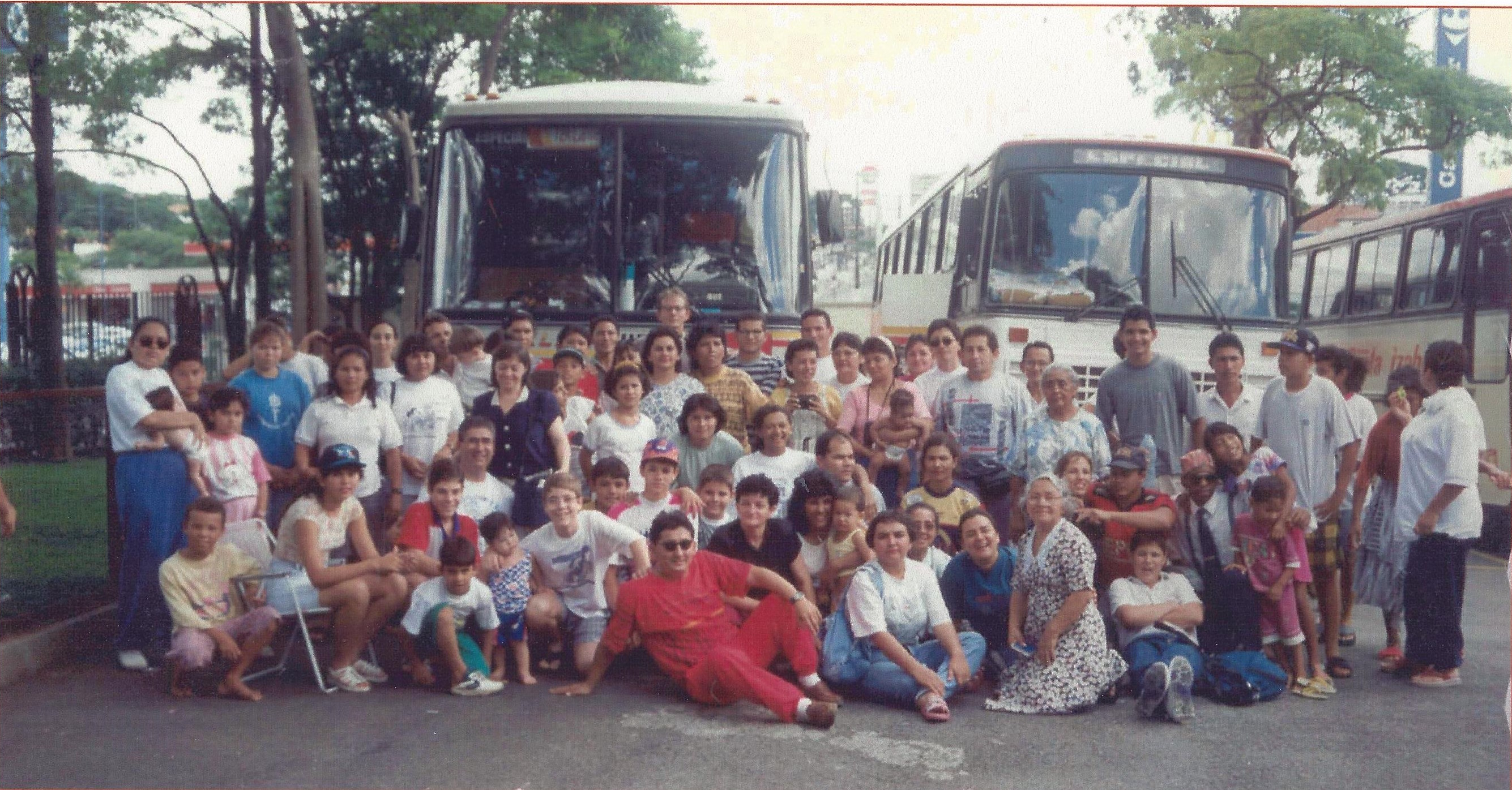 The temple caravan from Manaus, Brazil, reaches their destination, pausing for a photo in front of the buses just inside the grounds of the Sao Paulo Brazil Temple. The trip of nearly some 4,000 kilometers (or nearly 3,000 miles) took nearly a week traveling by boat and bus.
