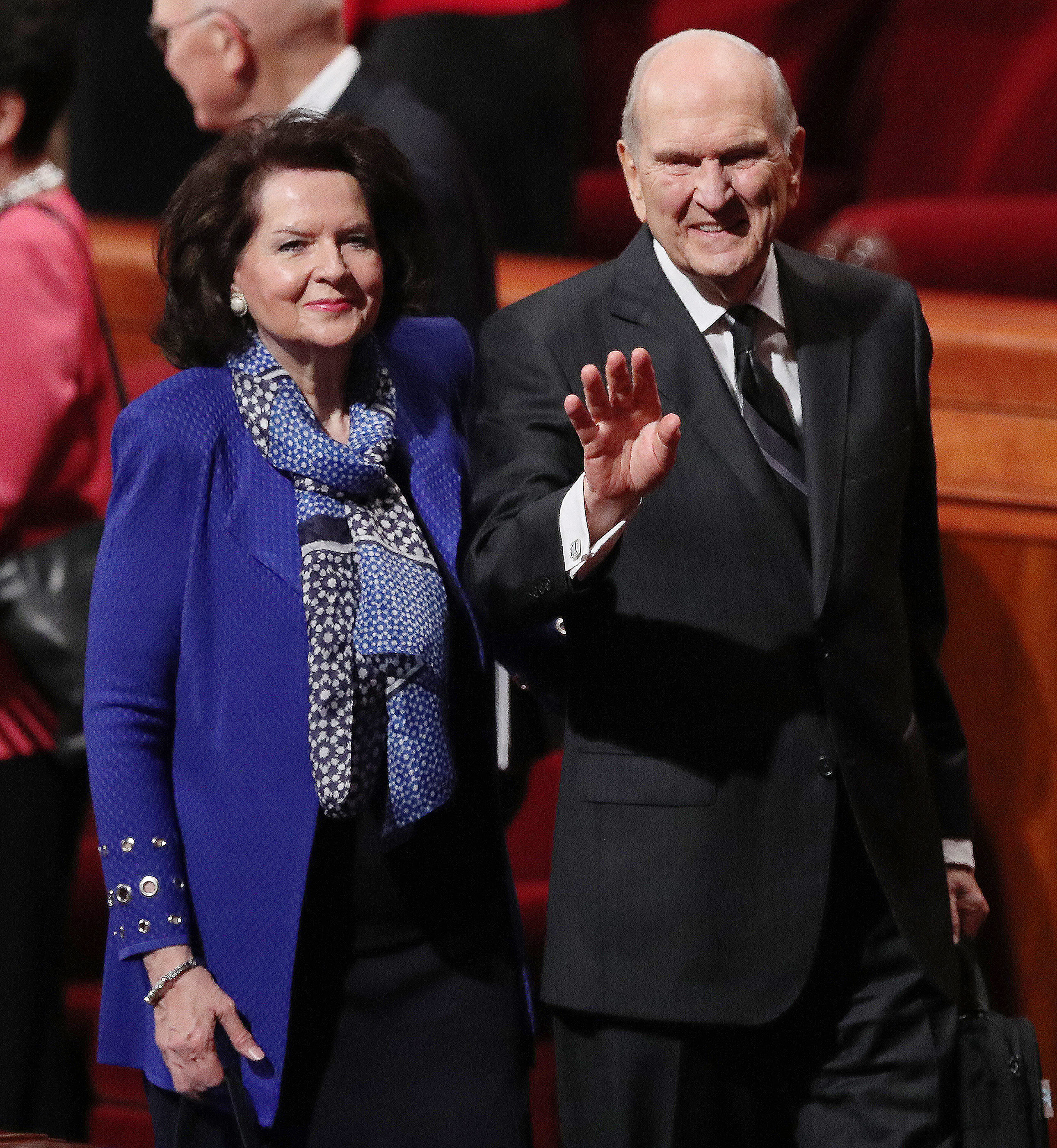 President Russell M. Nelson of The Church of Jesus Christ of Latter-day Saints and his wife, Sister Wendy Watson, wave as they leave the 188th Semiannual General Conference of The Church of Jesus Christ of Latter-day Saints in the Conference Center in Salt Lake City on Saturday, Oct. 6, 2018.