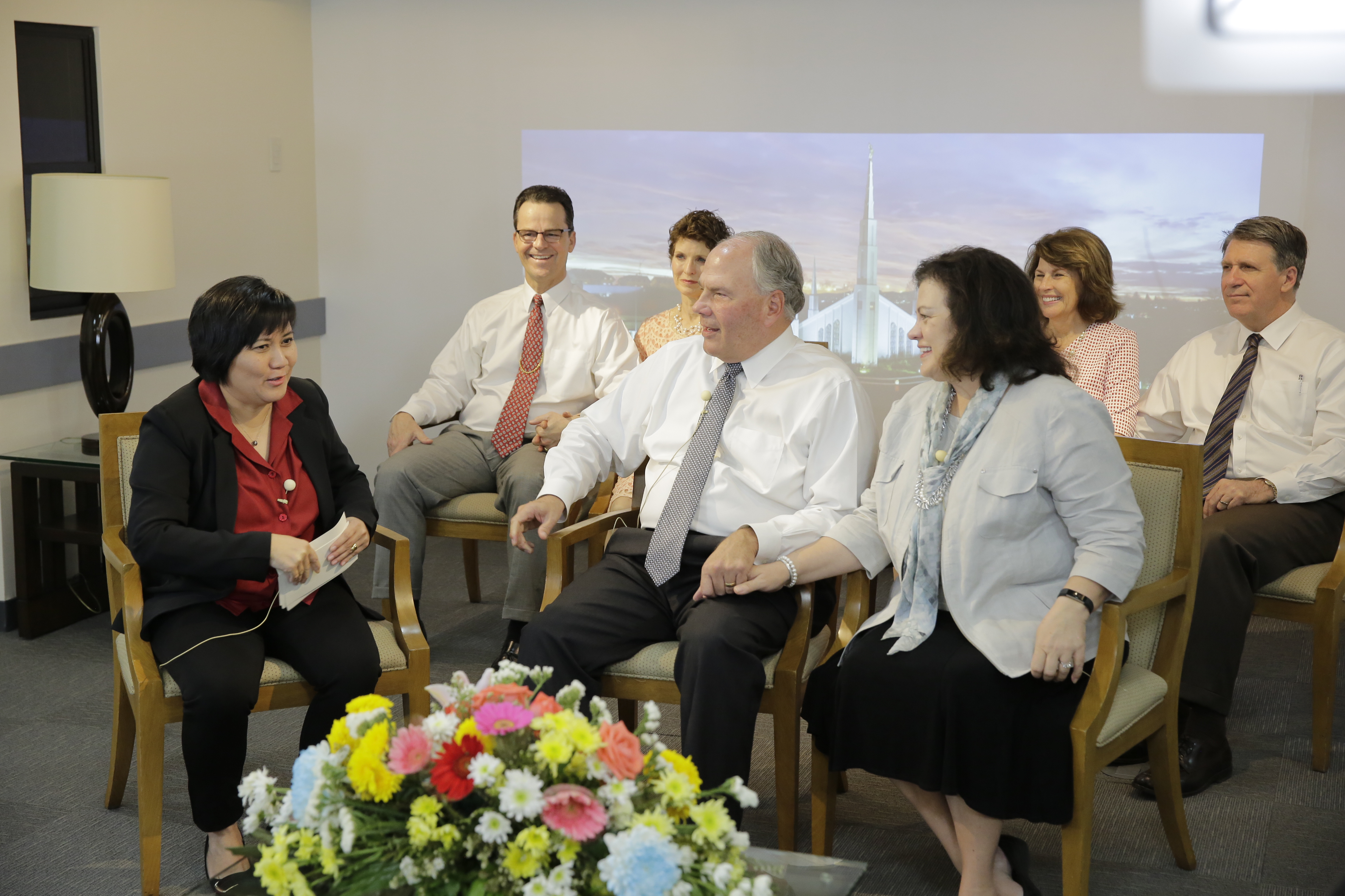 Elder Ronald A. Rasband and his wife, Sister Melanie Rasband, participate in a Facebook Live event moderated by Haidi F. Fajardo on Feb. 23. Elder Shayne M. Bowen, Philippines Area president, and his wife, Sister Lynette Bowen, look on.