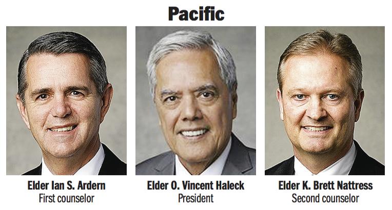 Pacific Area presidency: Elder O. Vincent Haleck, Elder Ian S. Ardern and Elder K. Brett Nattress.