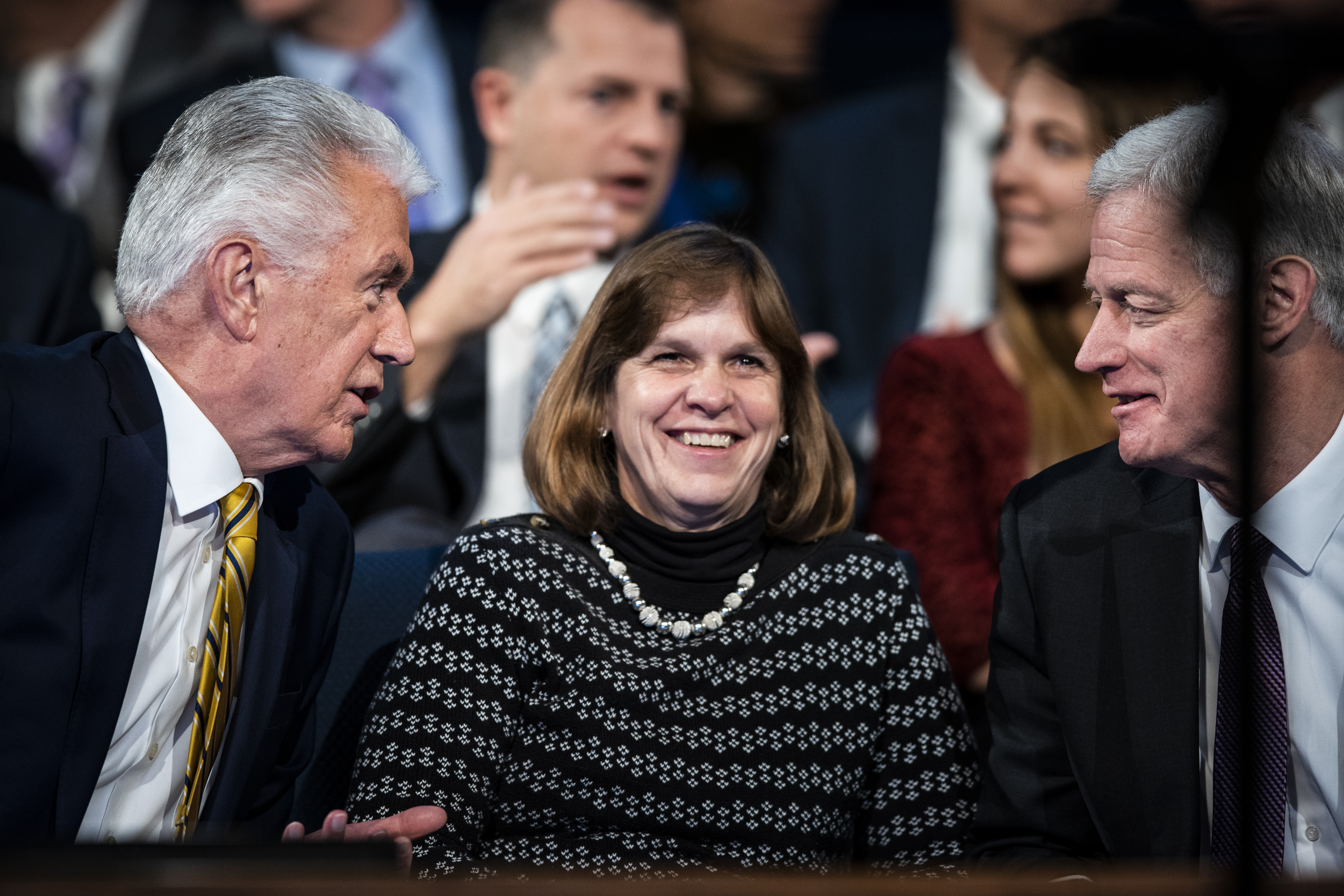 Elder Dieter F. Uchtdorf of the Quorum of the Twelve Apostles sits on the stand with President and Sister Worthen during a devotional on the BYU campus in Provo, Utah on Tuesday, Jan. 15, 2019.