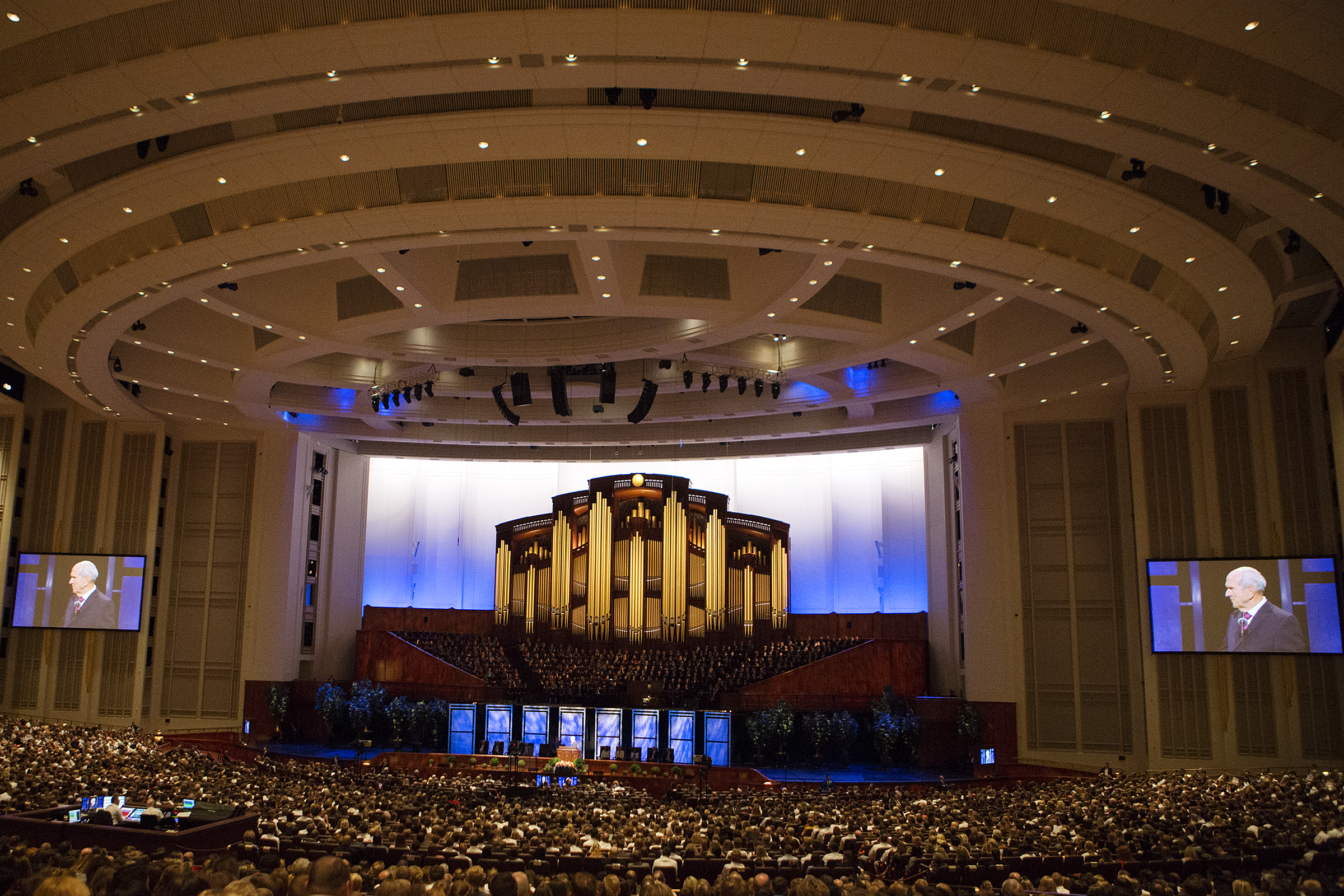 President Russell M. Nelson of The Church of Jesus Christ of Latter-day Saints speaks during the Worldwide Youth Devotional at the Conference Center in Salt Lake City on Sunday, June 3, 2018.