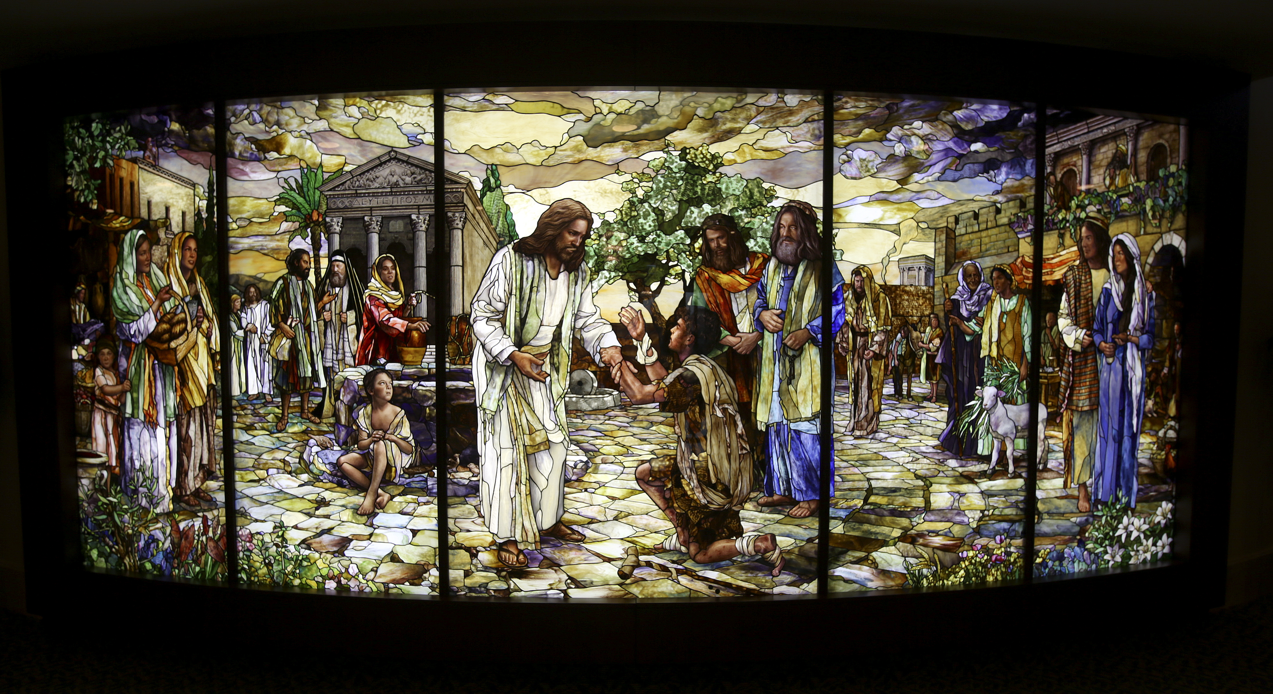 Thomas Holdman's stained glass mural is on display in the Visitors' Center for the Rome Temple in Rome, Italy, on Friday, Nov. 16, 2018.